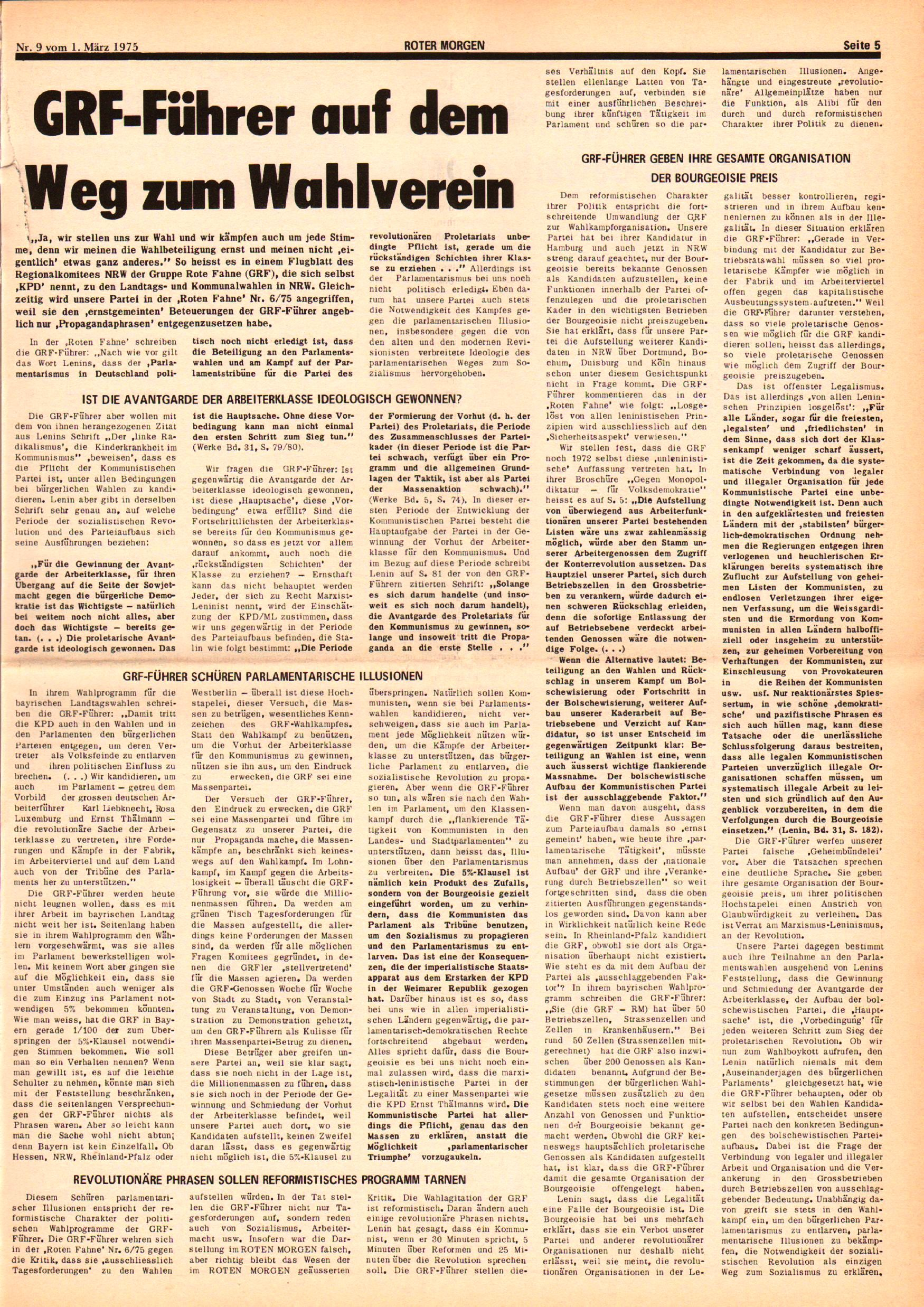 Roter Morgen, 9. Jg., 1. März 1975, Nr. 9, Seite 5