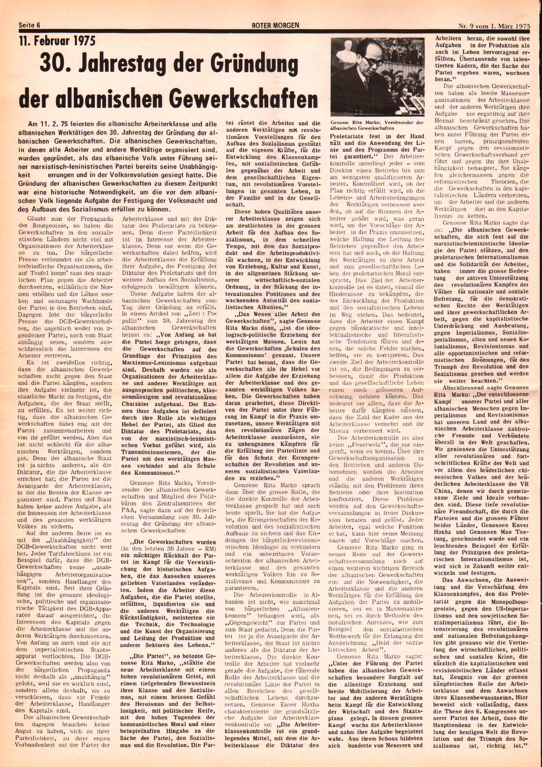 Roter Morgen, 9. Jg., 1. März 1975, Nr. 9, Seite 6