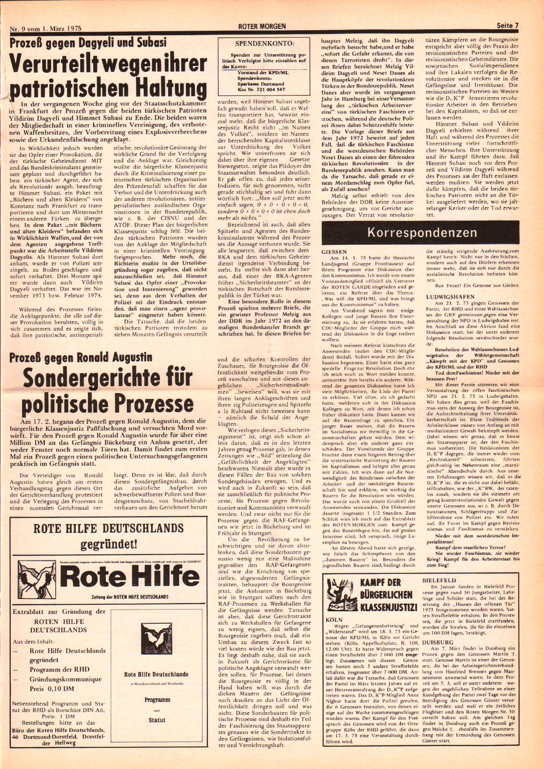 Roter Morgen, 9. Jg., 1. März 1975, Nr. 9, Seite 7