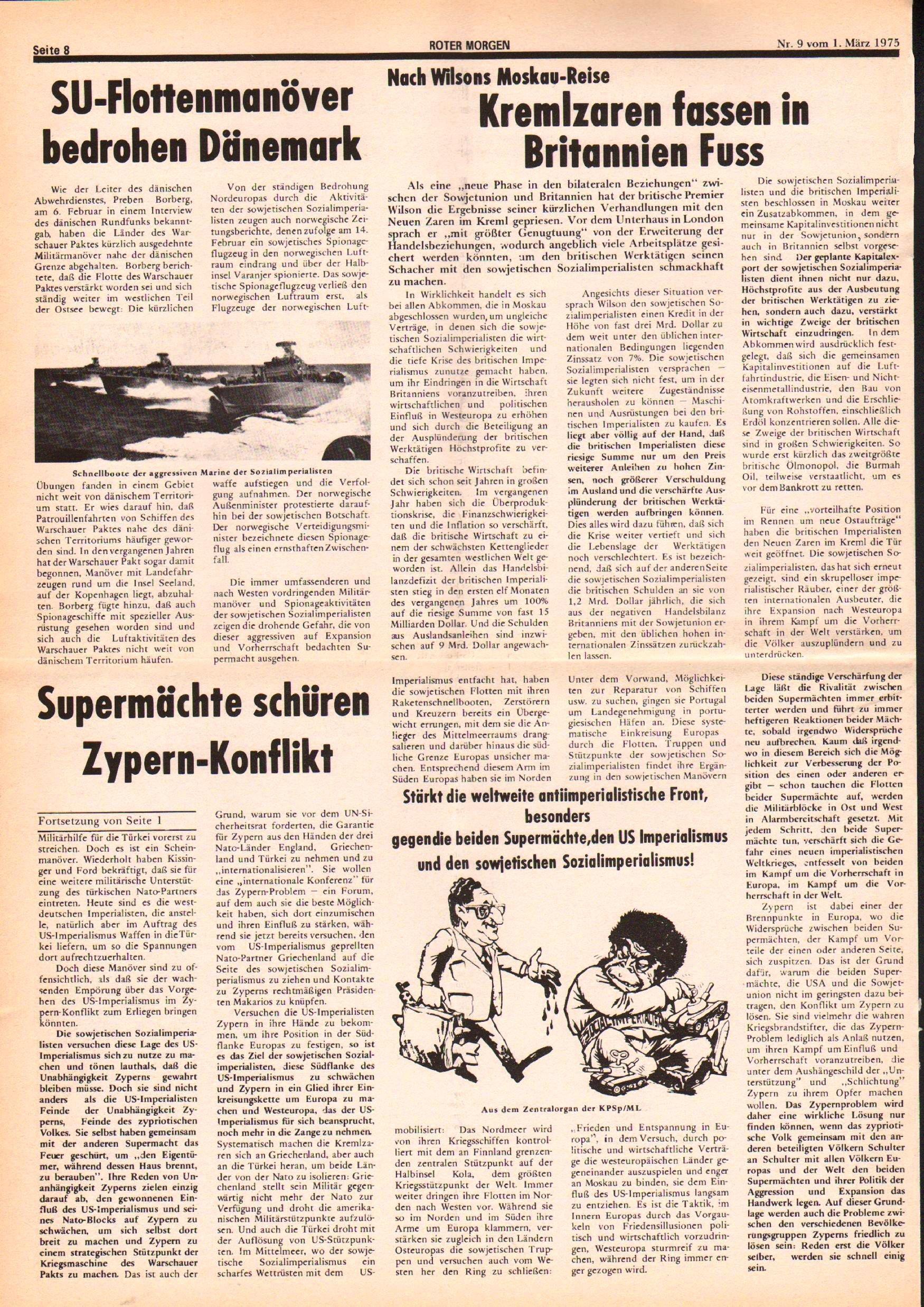 Roter Morgen, 9. Jg., 1. März 1975, Nr. 9, Seite 8