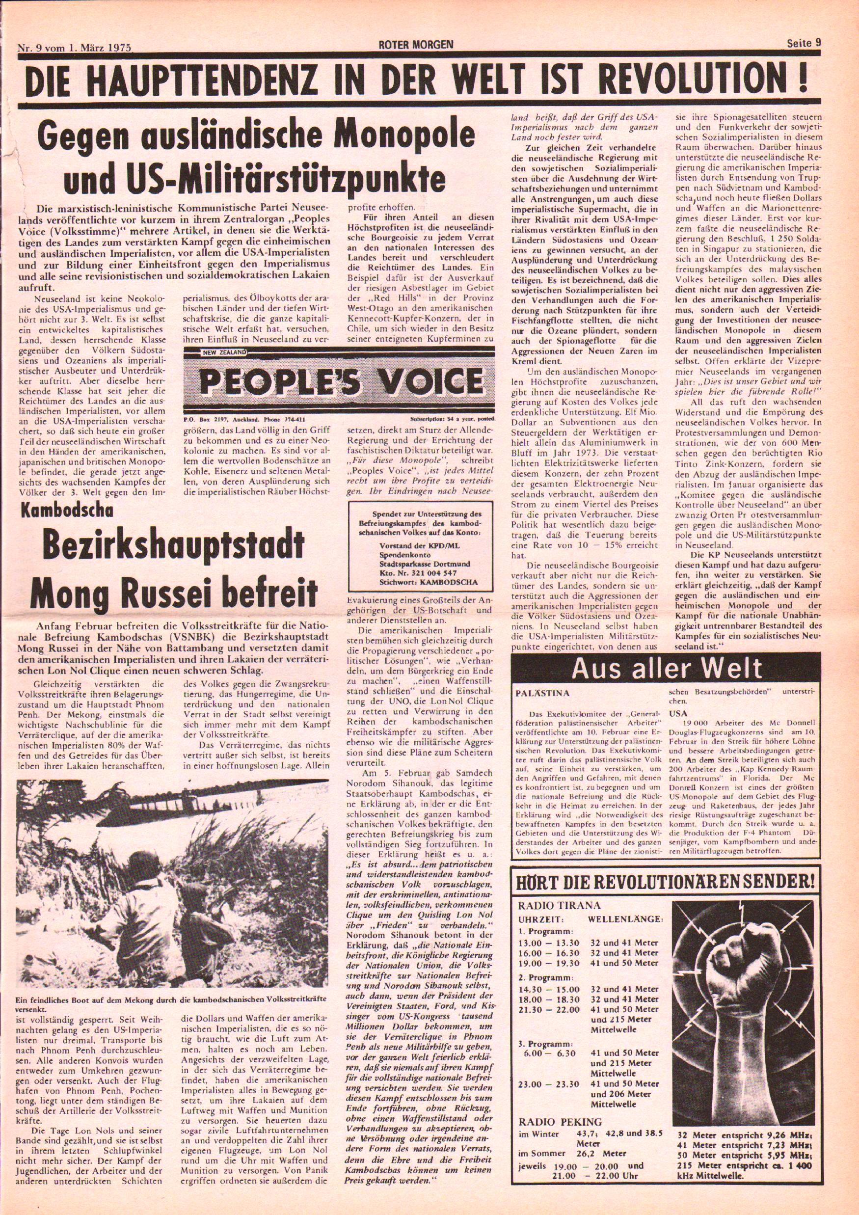 Roter Morgen, 9. Jg., 1. März 1975, Nr. 9, Seite 9