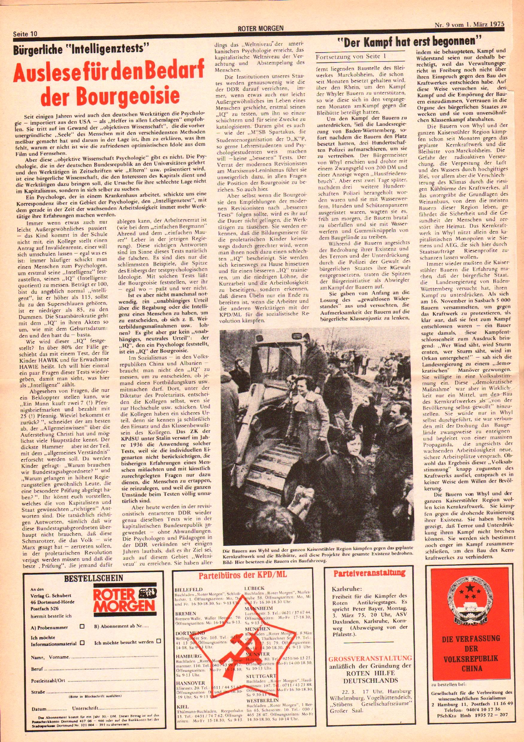 Roter Morgen, 9. Jg., 1. März 1975, Nr. 9, Seite 10