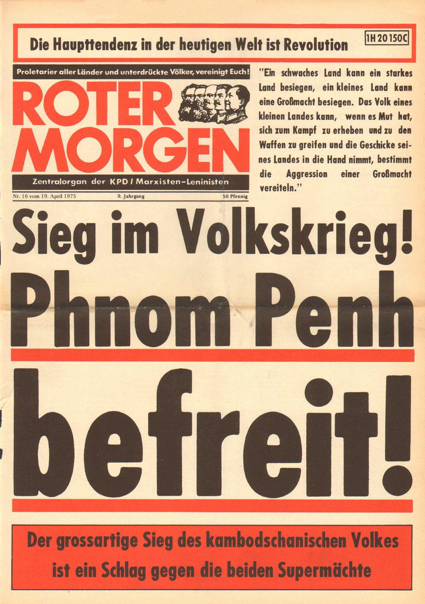 Roter Morgen, 9. Jg., 19. April 1975, Nr. 16, Seite 1