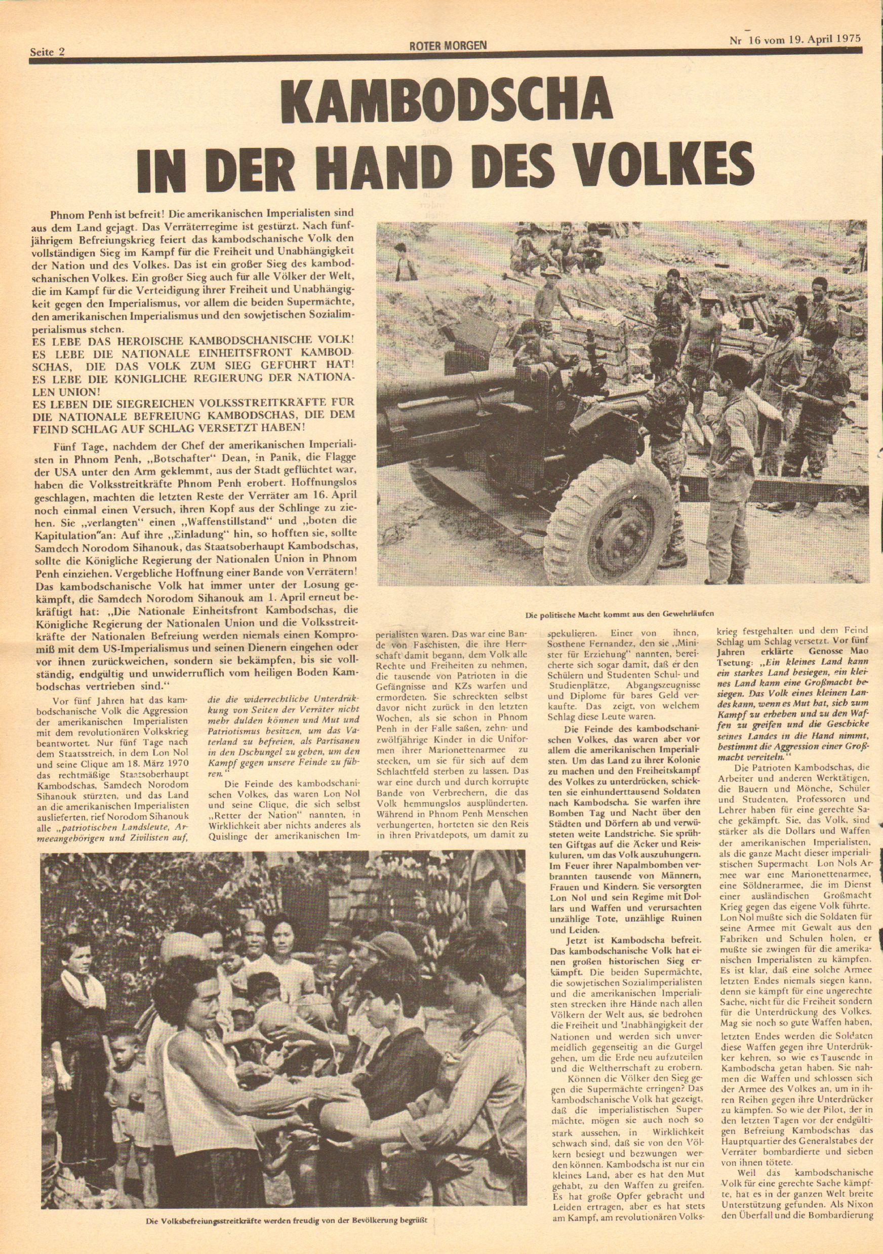 Roter Morgen, 9. Jg., 19. April 1975, Nr. 16, Seite 2