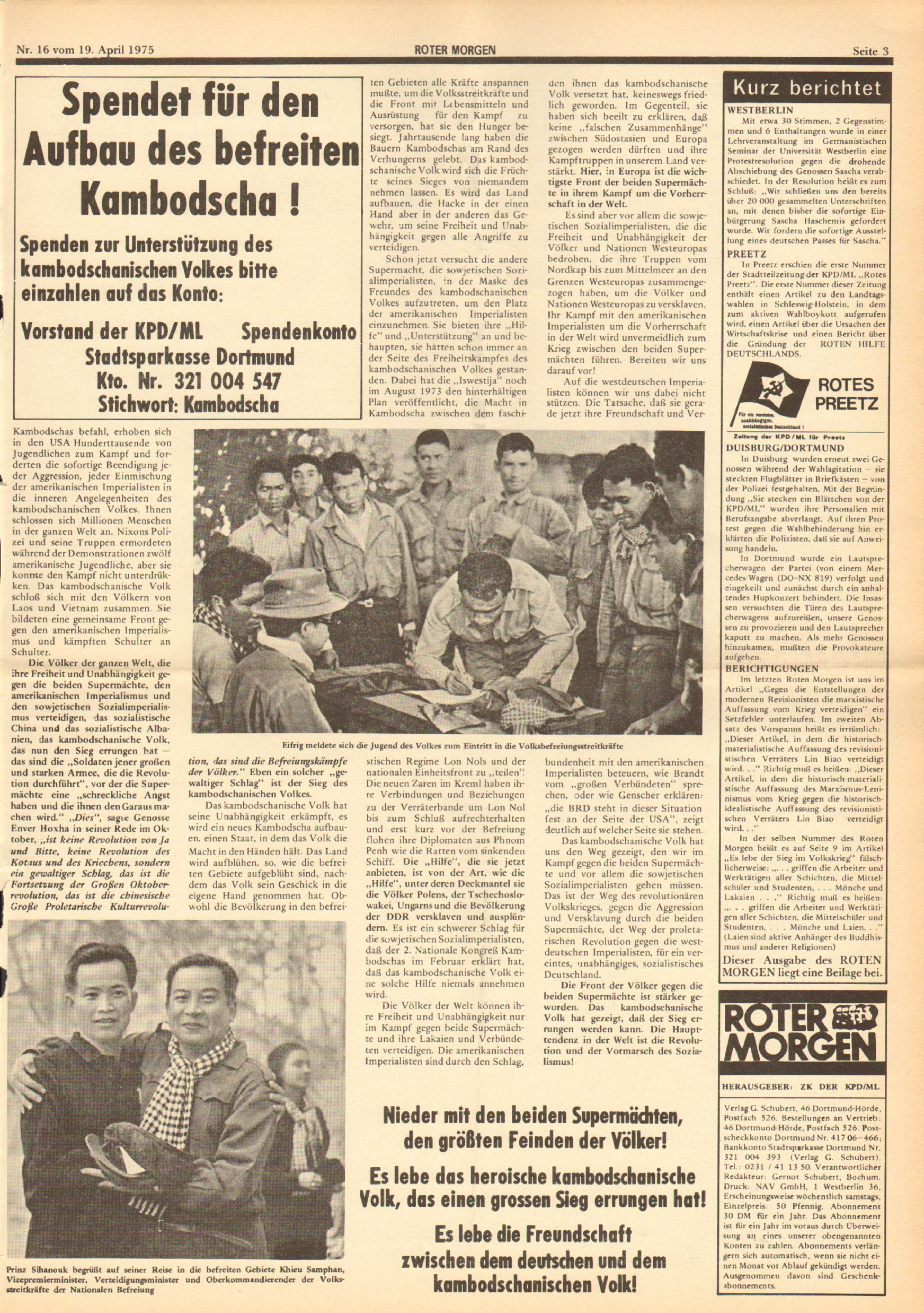 Roter Morgen, 9. Jg., 19. April 1975, Nr. 16, Seite 3