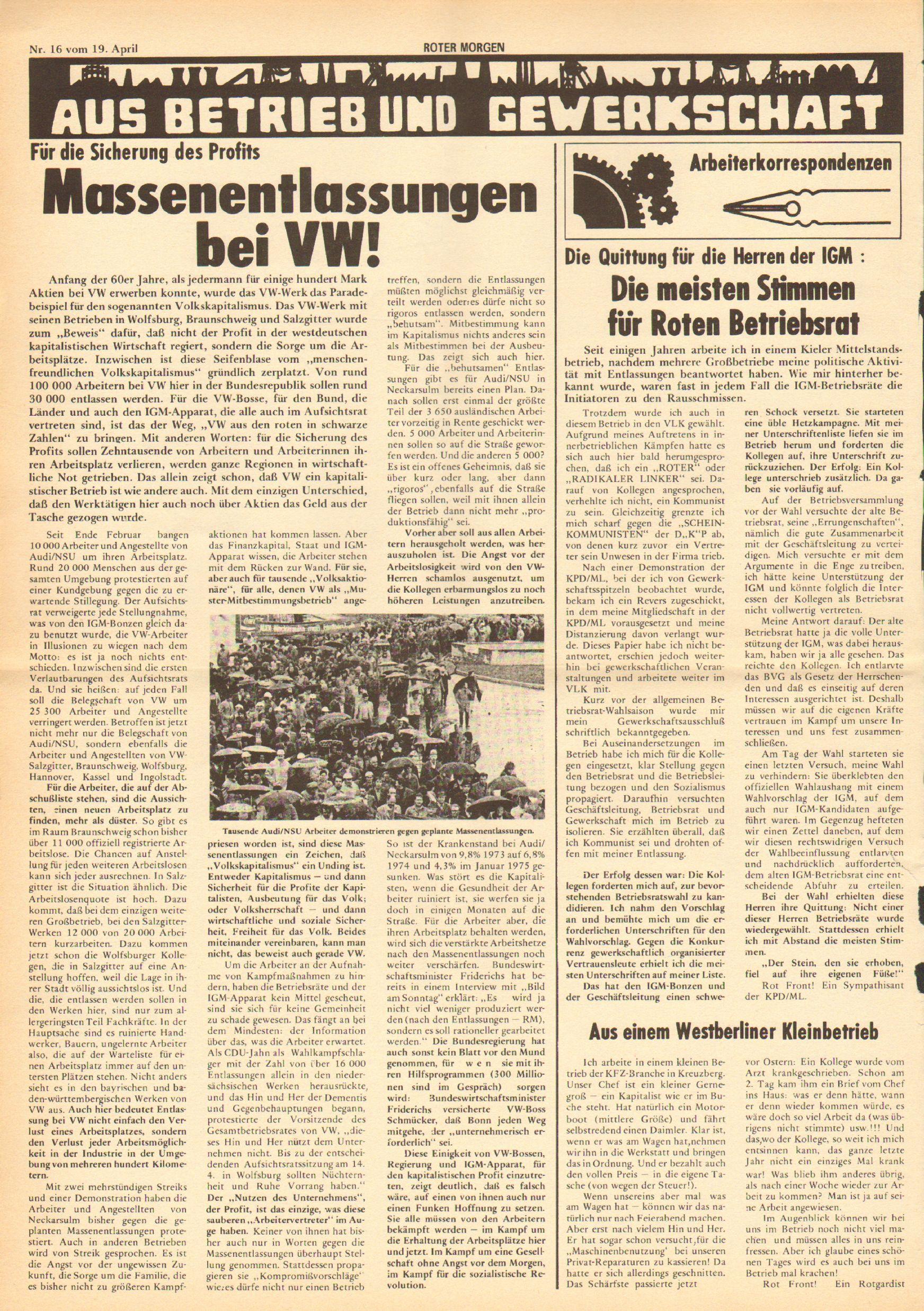 Roter Morgen, 9. Jg., 19. April 1975, Nr. 16, Seite 4
