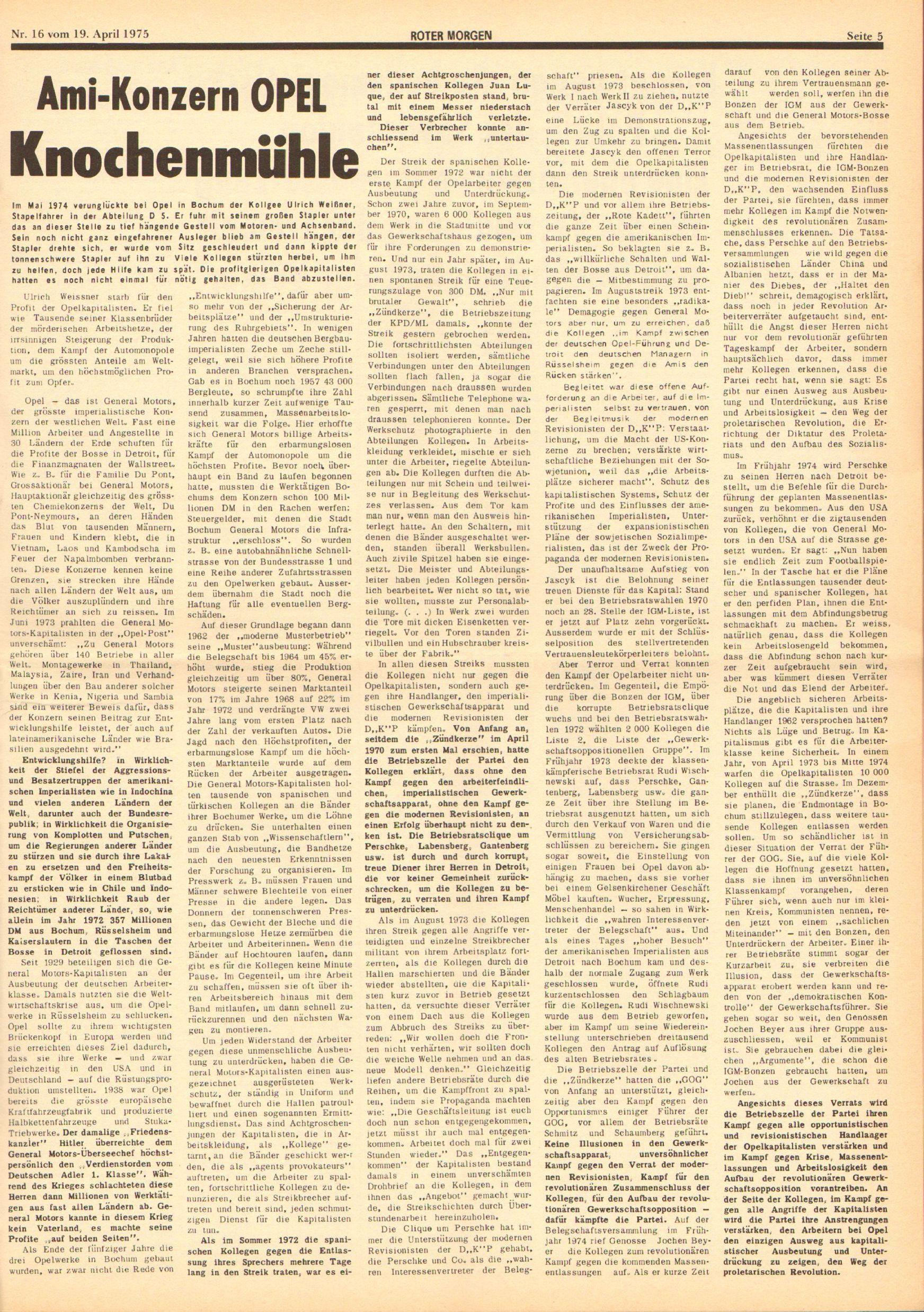 Roter Morgen, 9. Jg., 19. April 1975, Nr. 16, Seite 5
