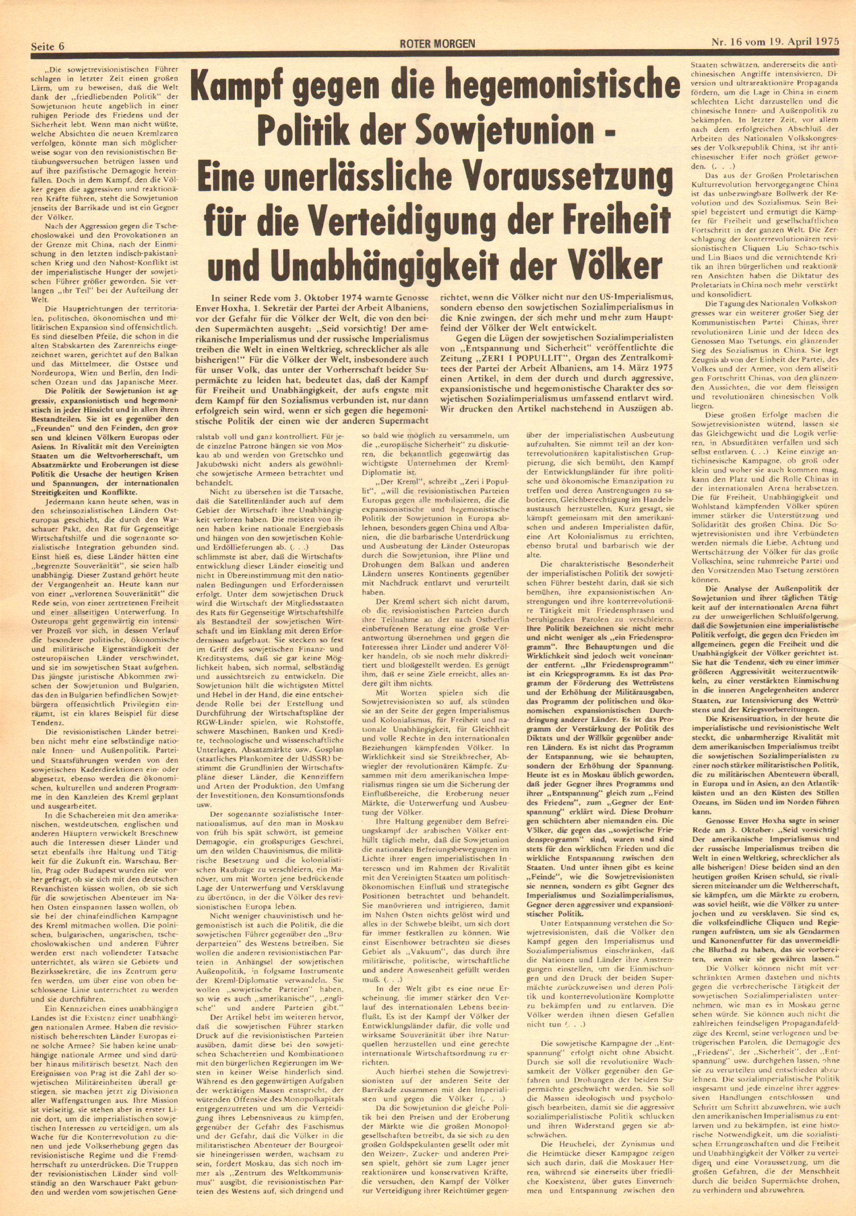 Roter Morgen, 9. Jg., 19. April 1975, Nr. 16, Seite 6