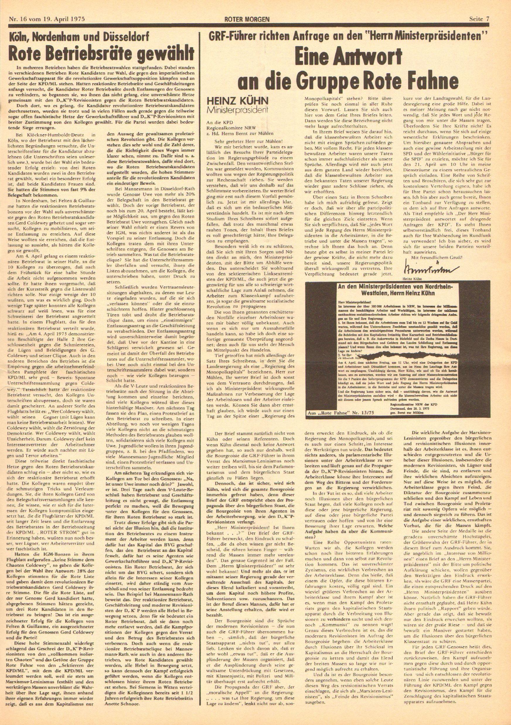Roter Morgen, 9. Jg., 19. April 1975, Nr. 16, Seite 7