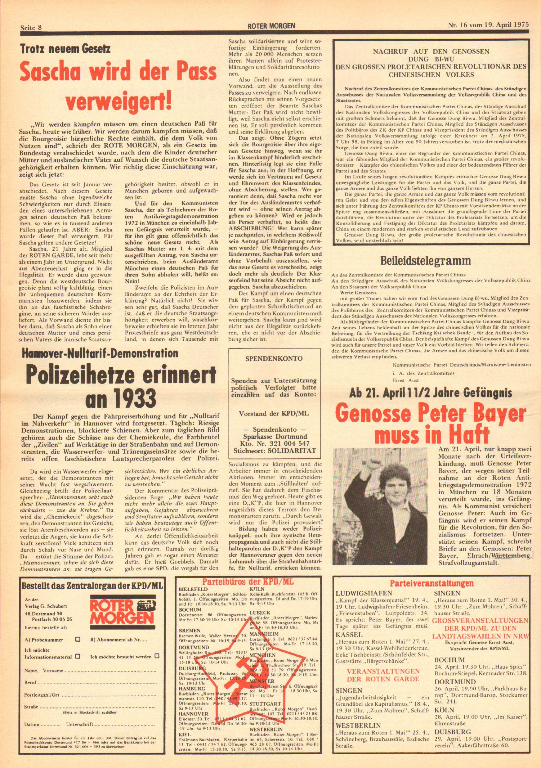 Roter Morgen, 9. Jg., 19. April 1975, Nr. 16, Seite 8