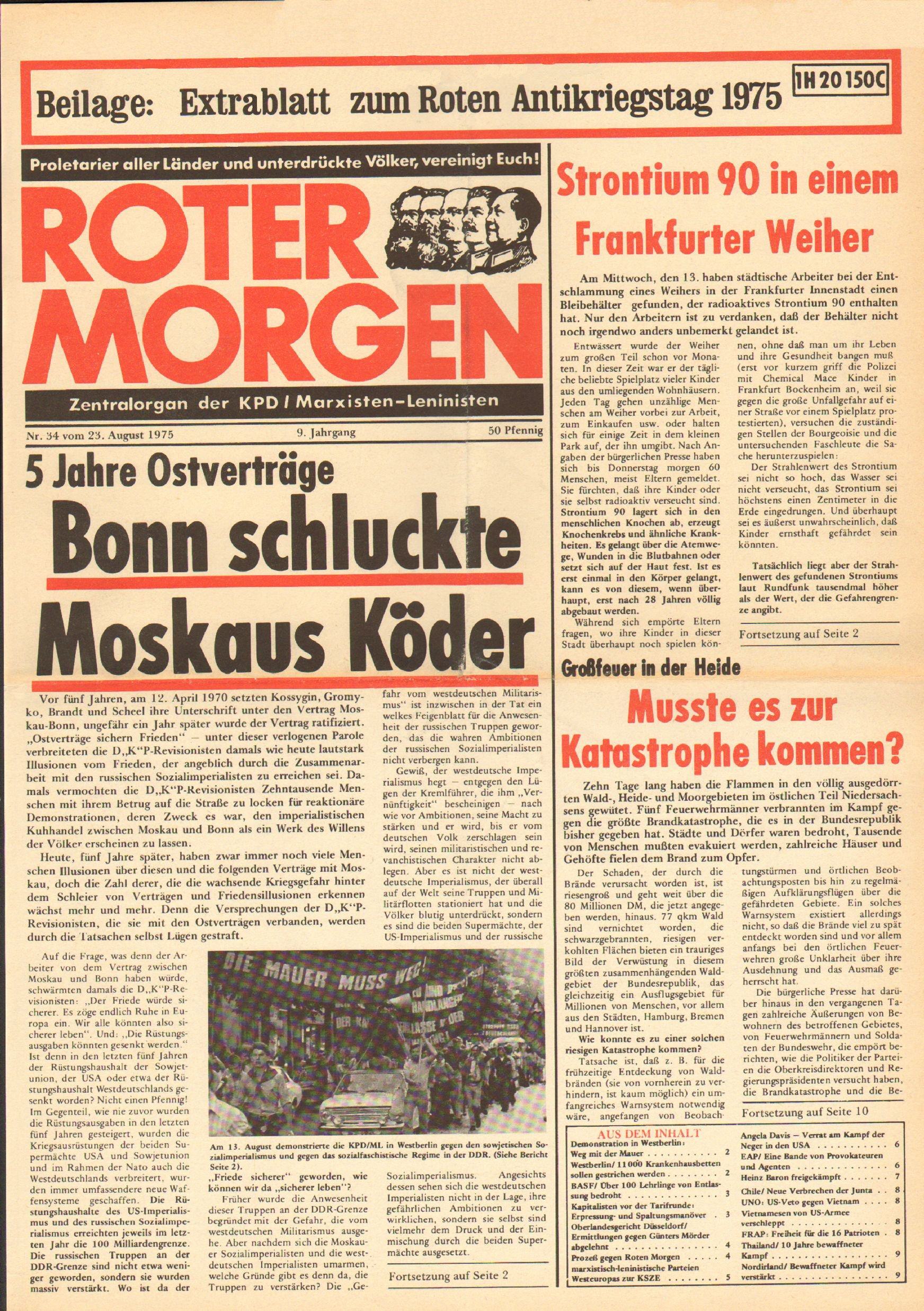 Roter Morgen, 9. Jg., 23. August 1975, Nr. 34, Seite 1