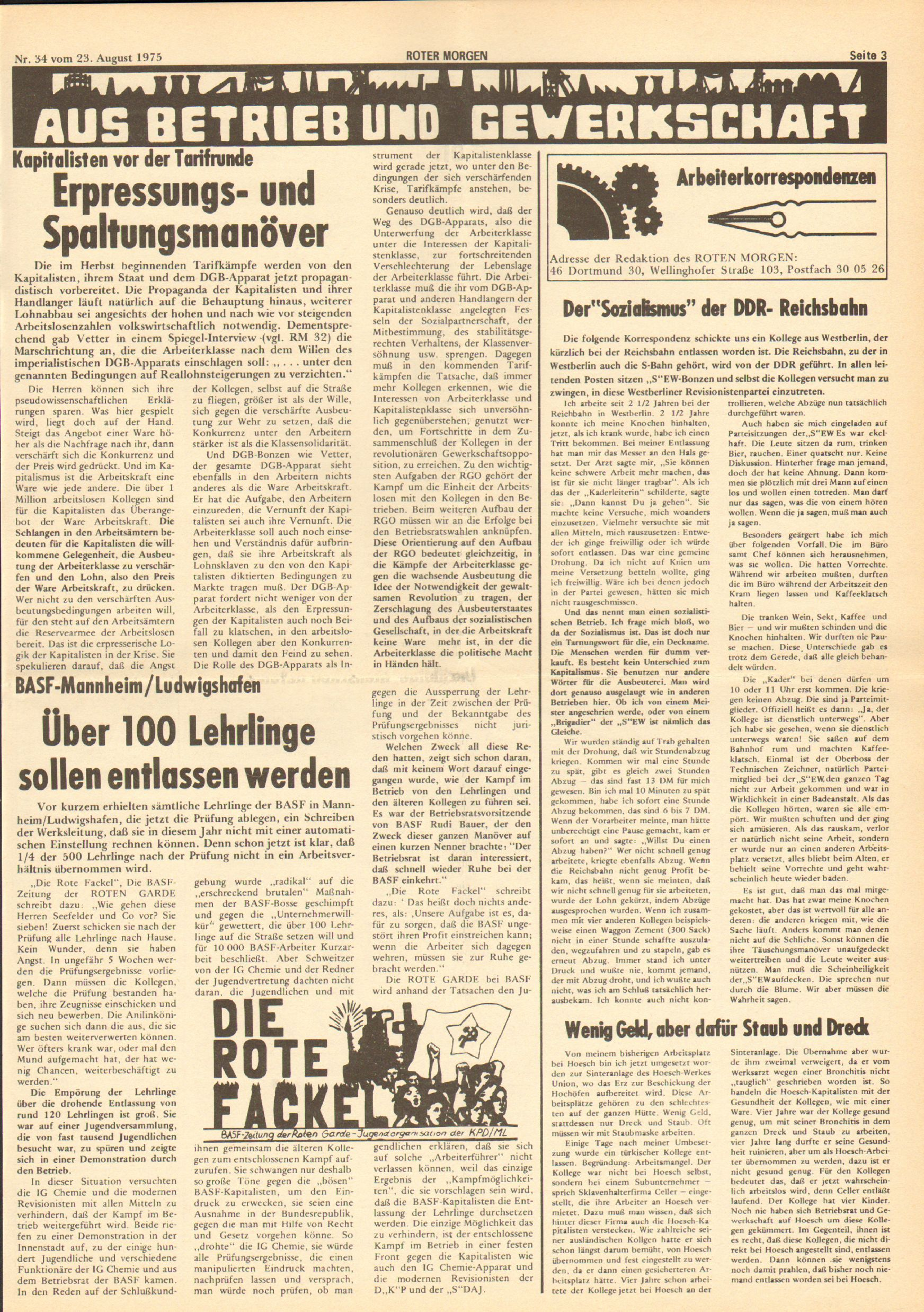 Roter Morgen, 9. Jg., 23. August 1975, Nr. 34, Seite 3