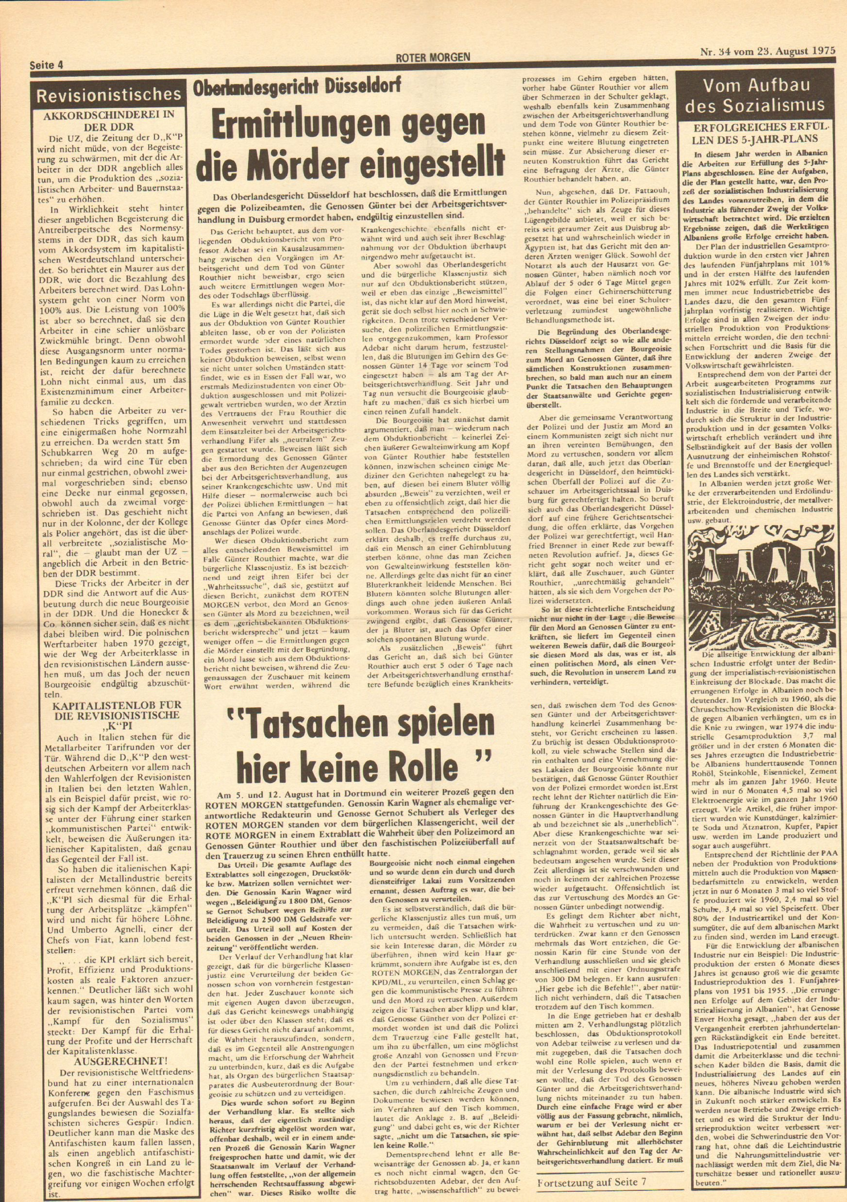 Roter Morgen, 9. Jg., 23. August 1975, Nr. 34, Seite 4