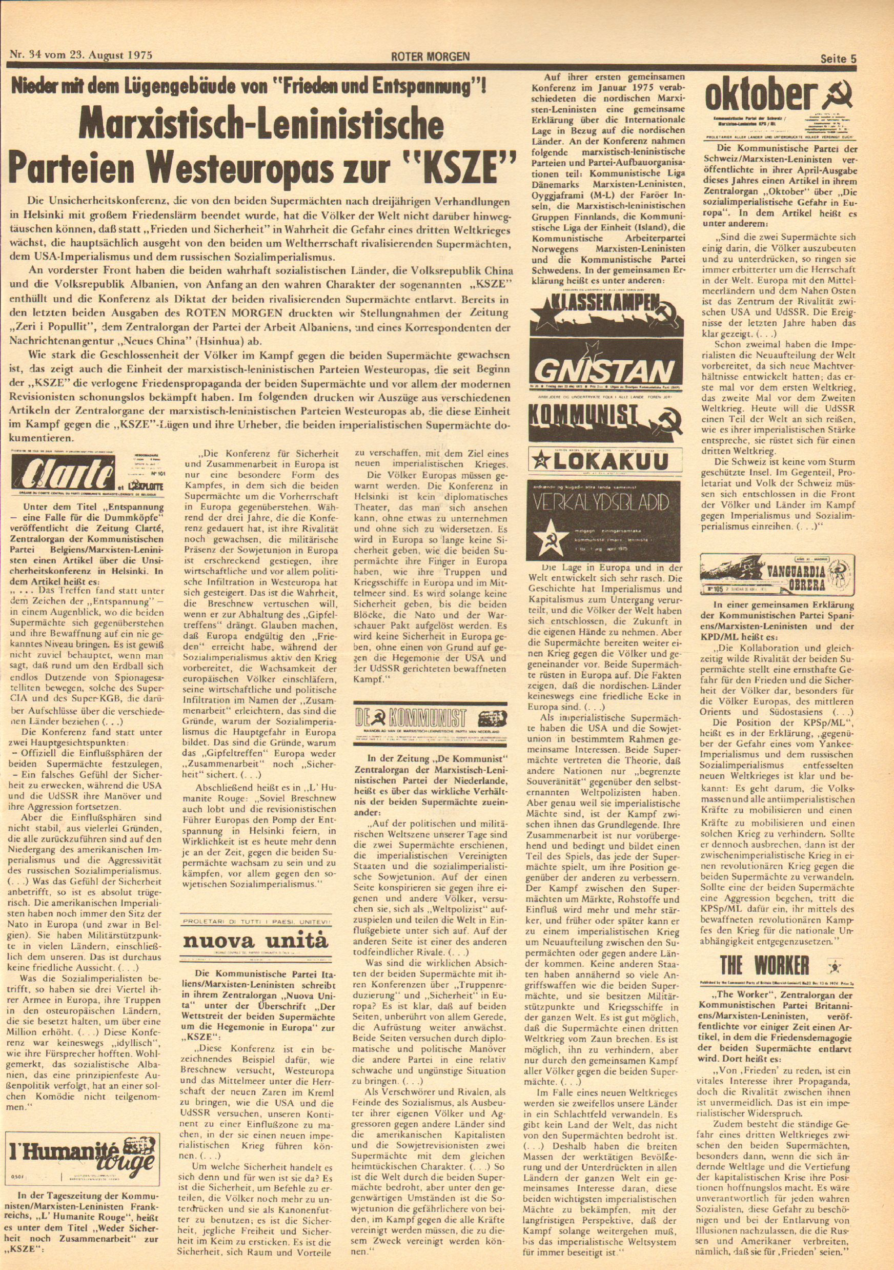 Roter Morgen, 9. Jg., 23. August 1975, Nr. 34, Seite 5