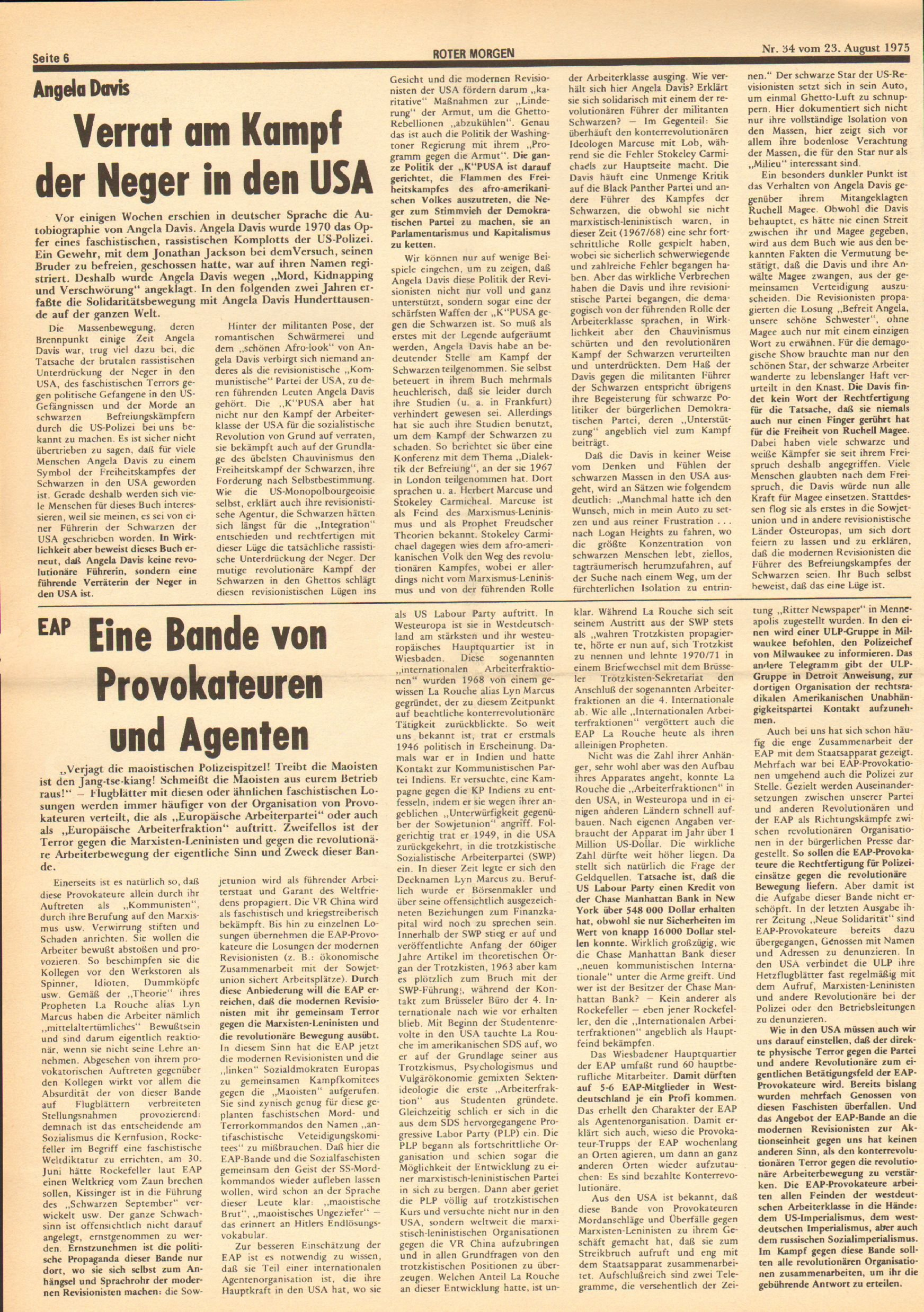 Roter Morgen, 9. Jg., 23. August 1975, Nr. 34, Seite 6