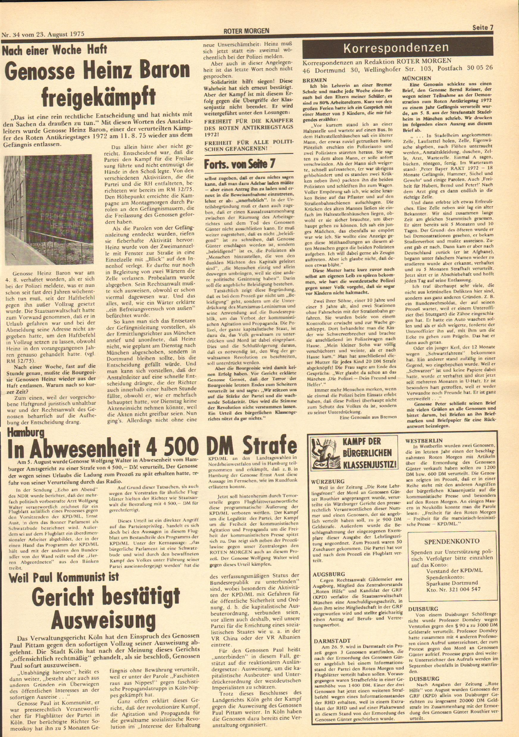 Roter Morgen, 9. Jg., 23. August 1975, Nr. 34, Seite 7