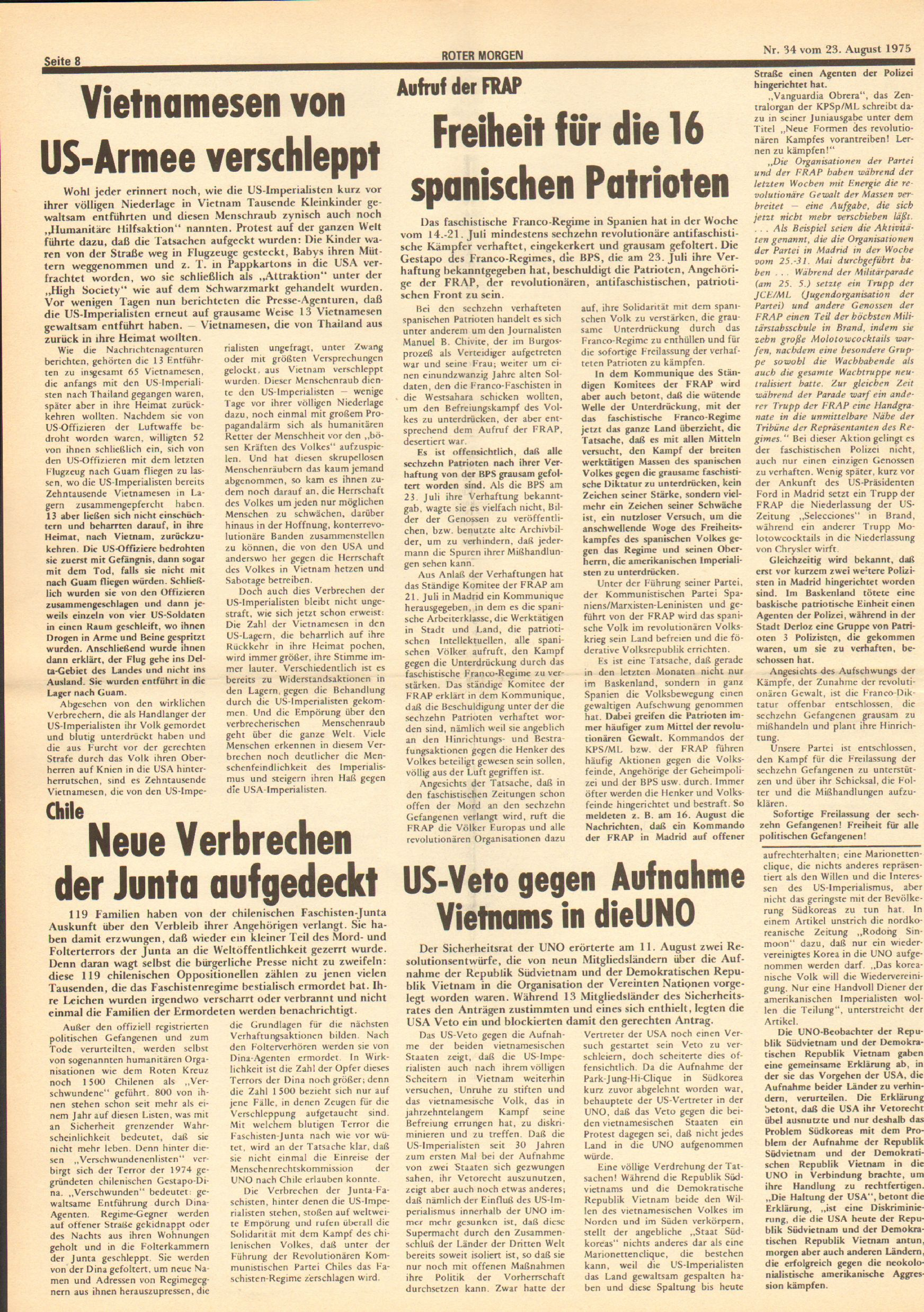 Roter Morgen, 9. Jg., 23. August 1975, Nr. 34, Seite 8