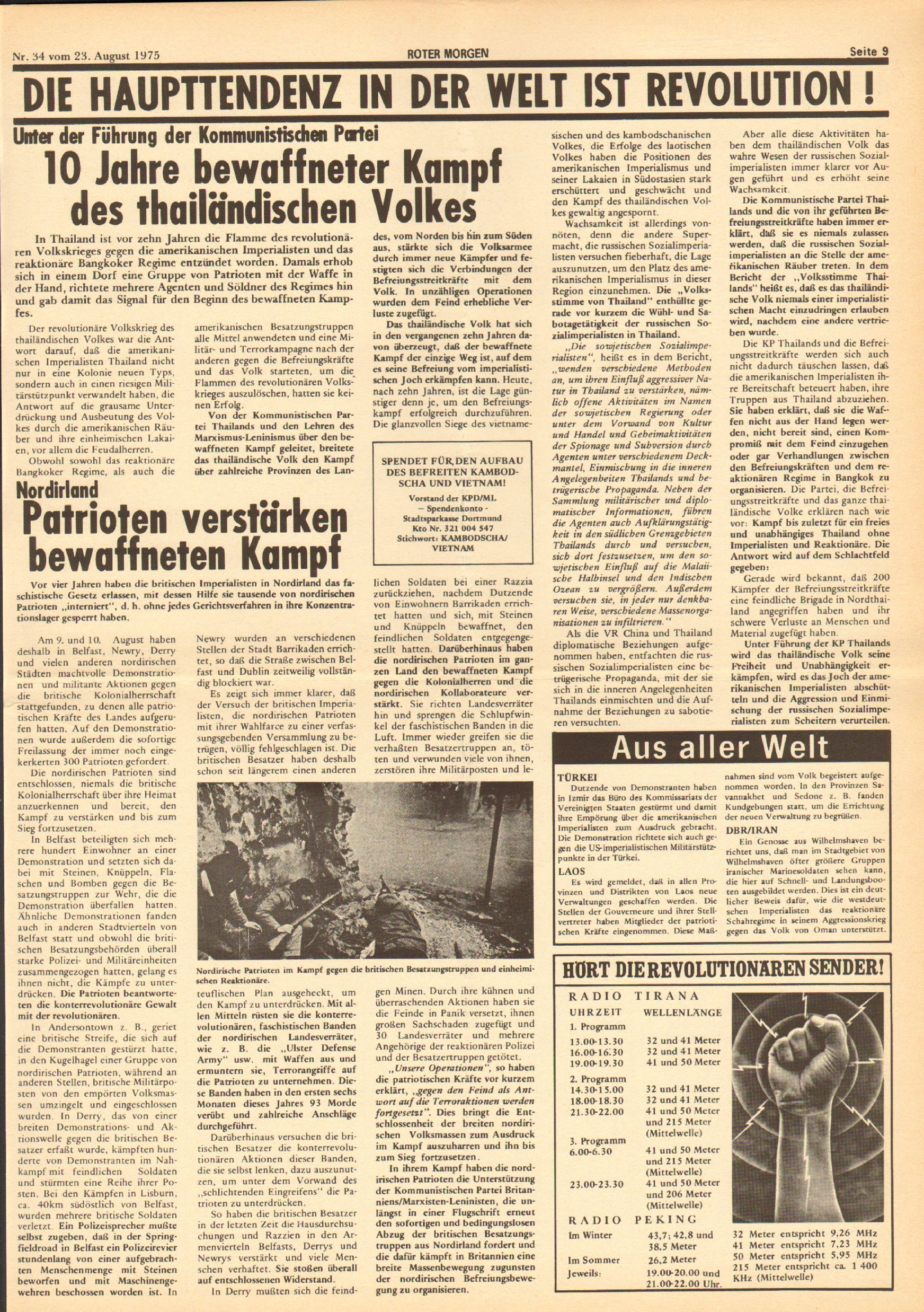 Roter Morgen, 9. Jg., 23. August 1975, Nr. 34, Seite 9