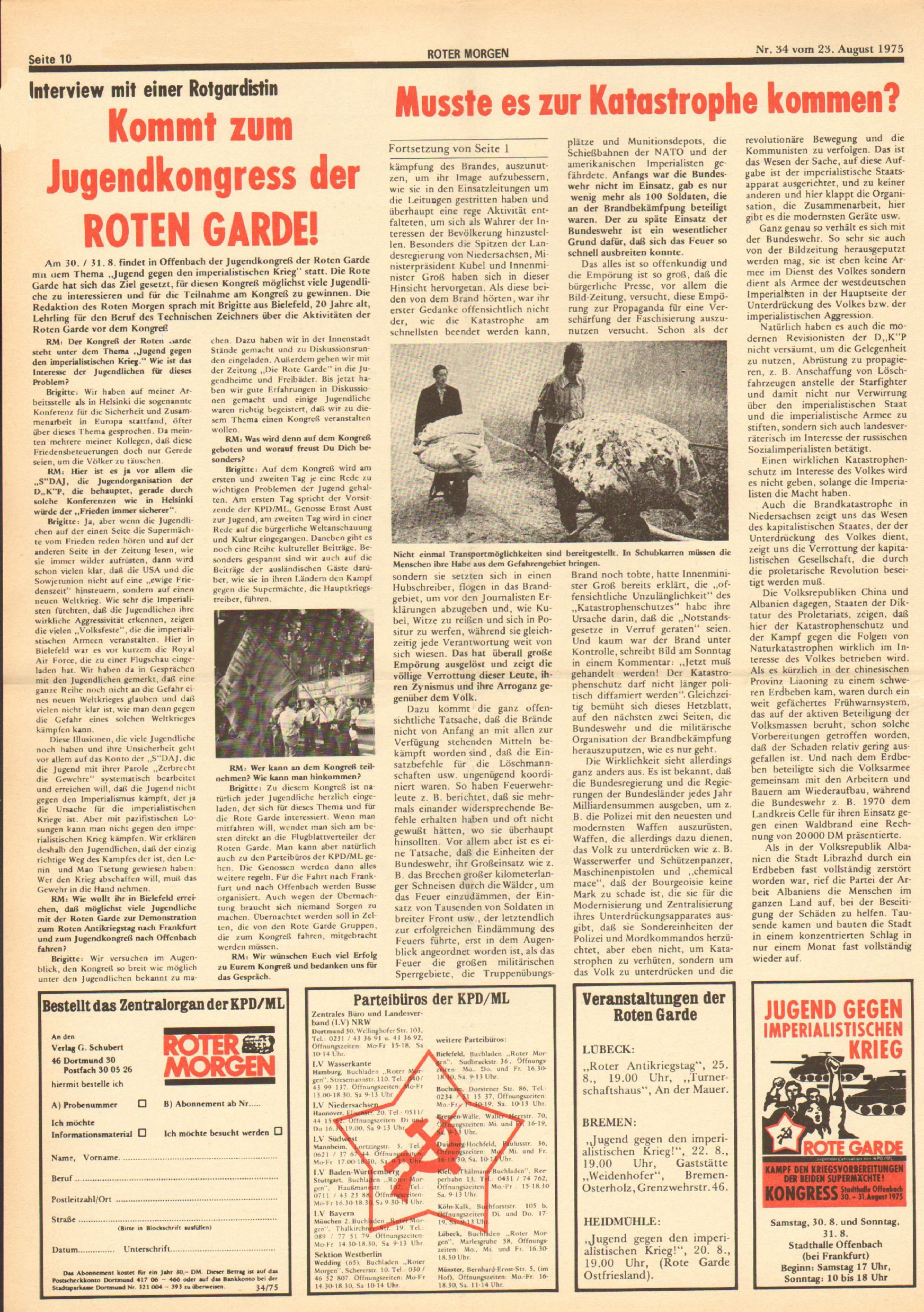 Roter Morgen, 9. Jg., 23. August 1975, Nr. 34, Seite 10