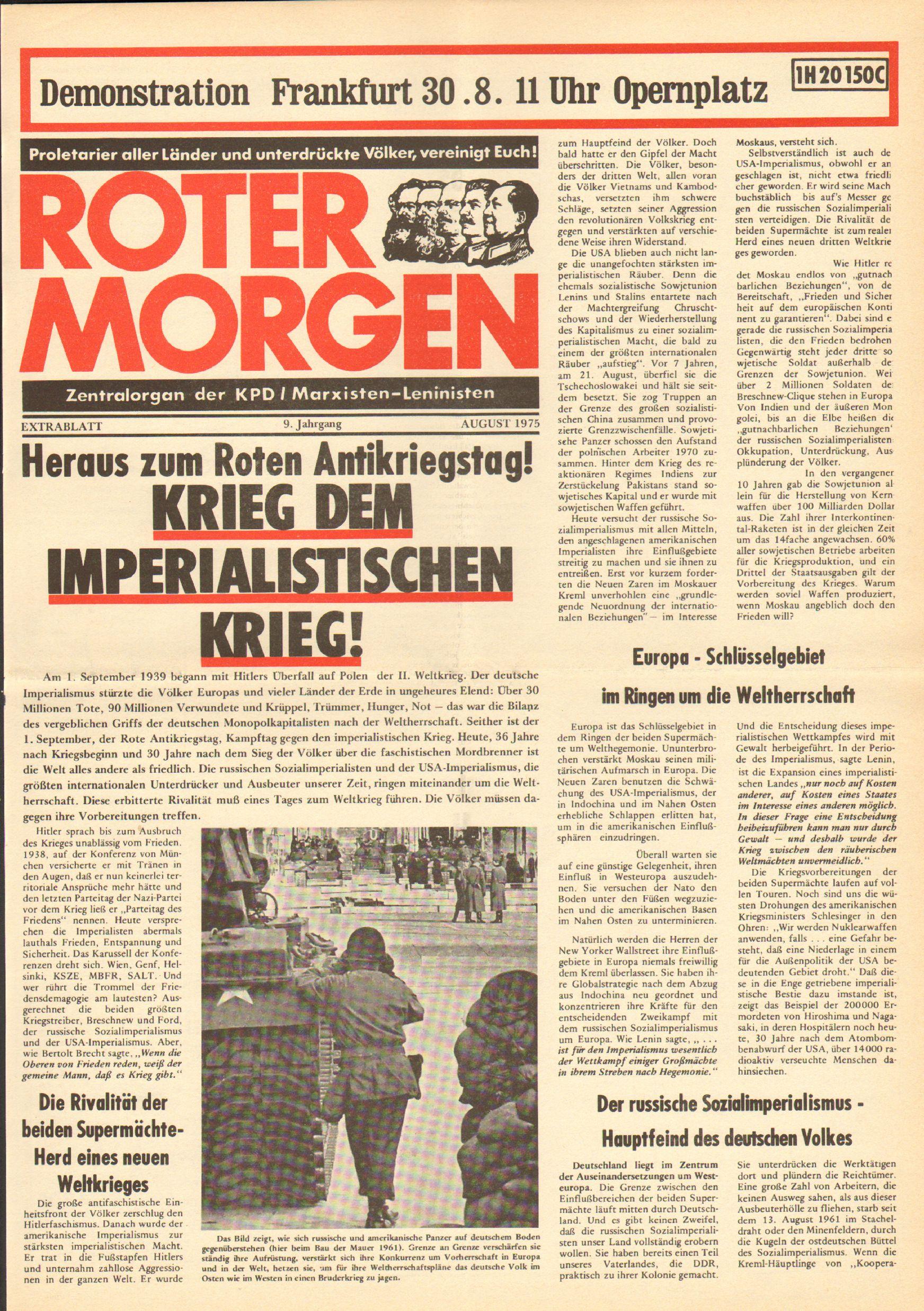Roter Morgen, 9. Jg., August 1975, Extrablatt zum Antikriegstag, Seite 1