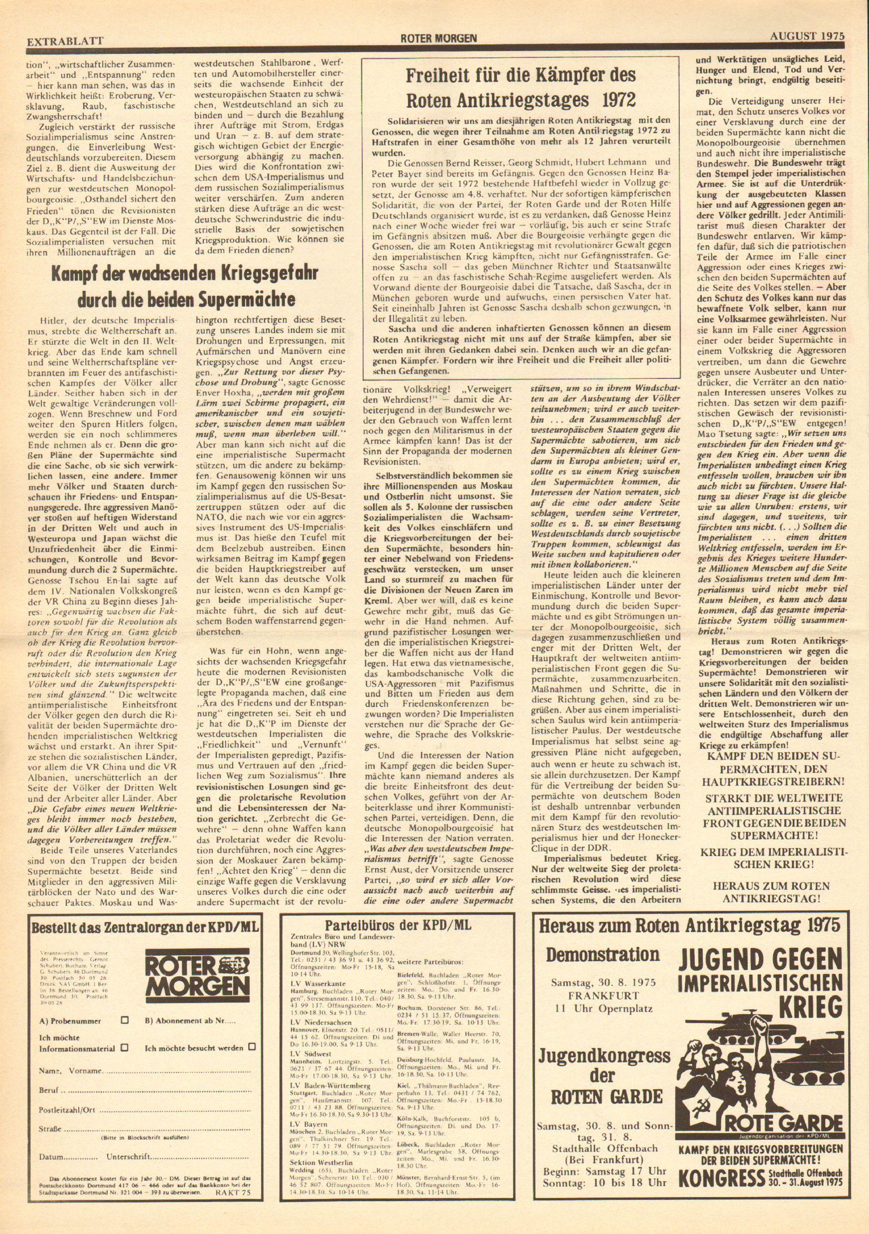 Roter Morgen, 9. Jg., August 1975, Extrablatt zum Antikriegstag, Seite 2