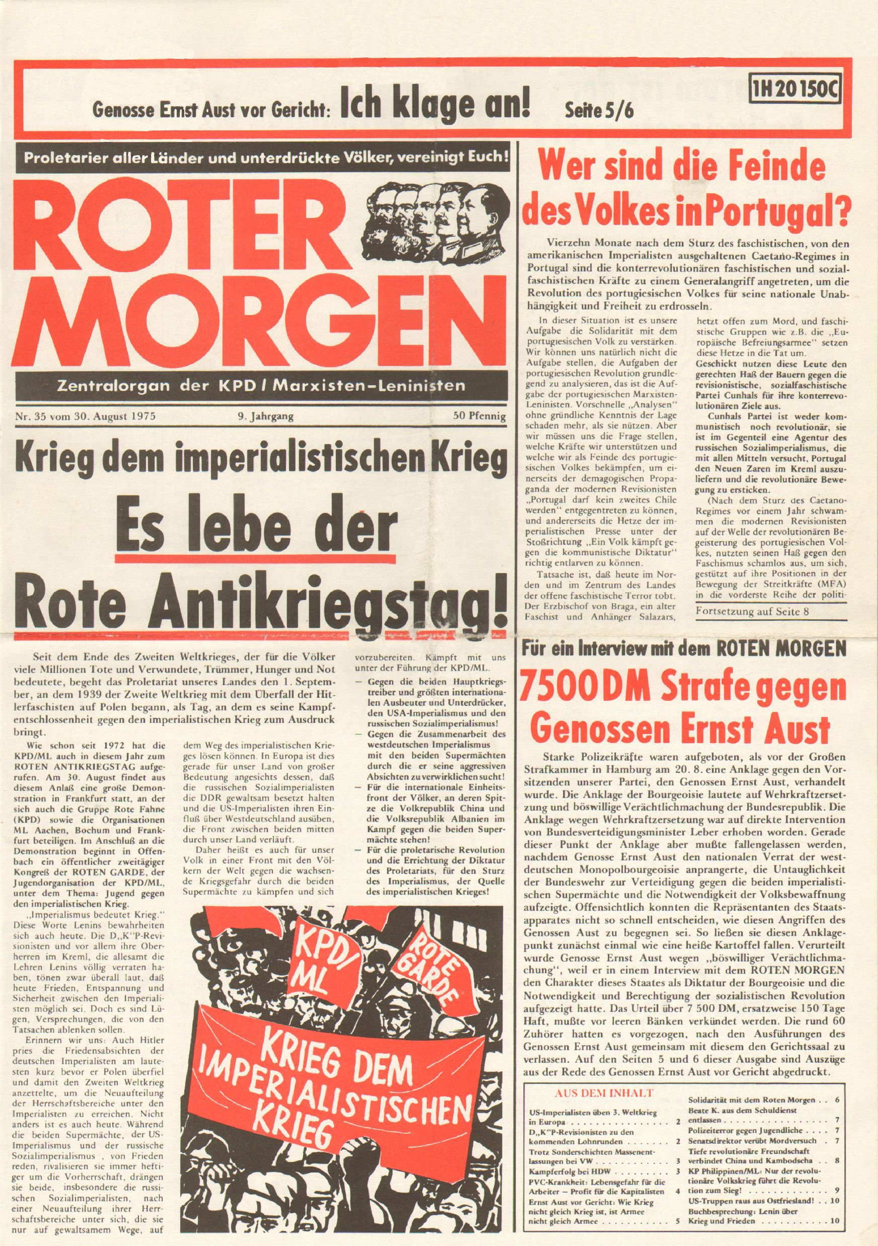 Roter Morgen, 9. Jg., 30. August 1975, Nr. 35, Seite 1