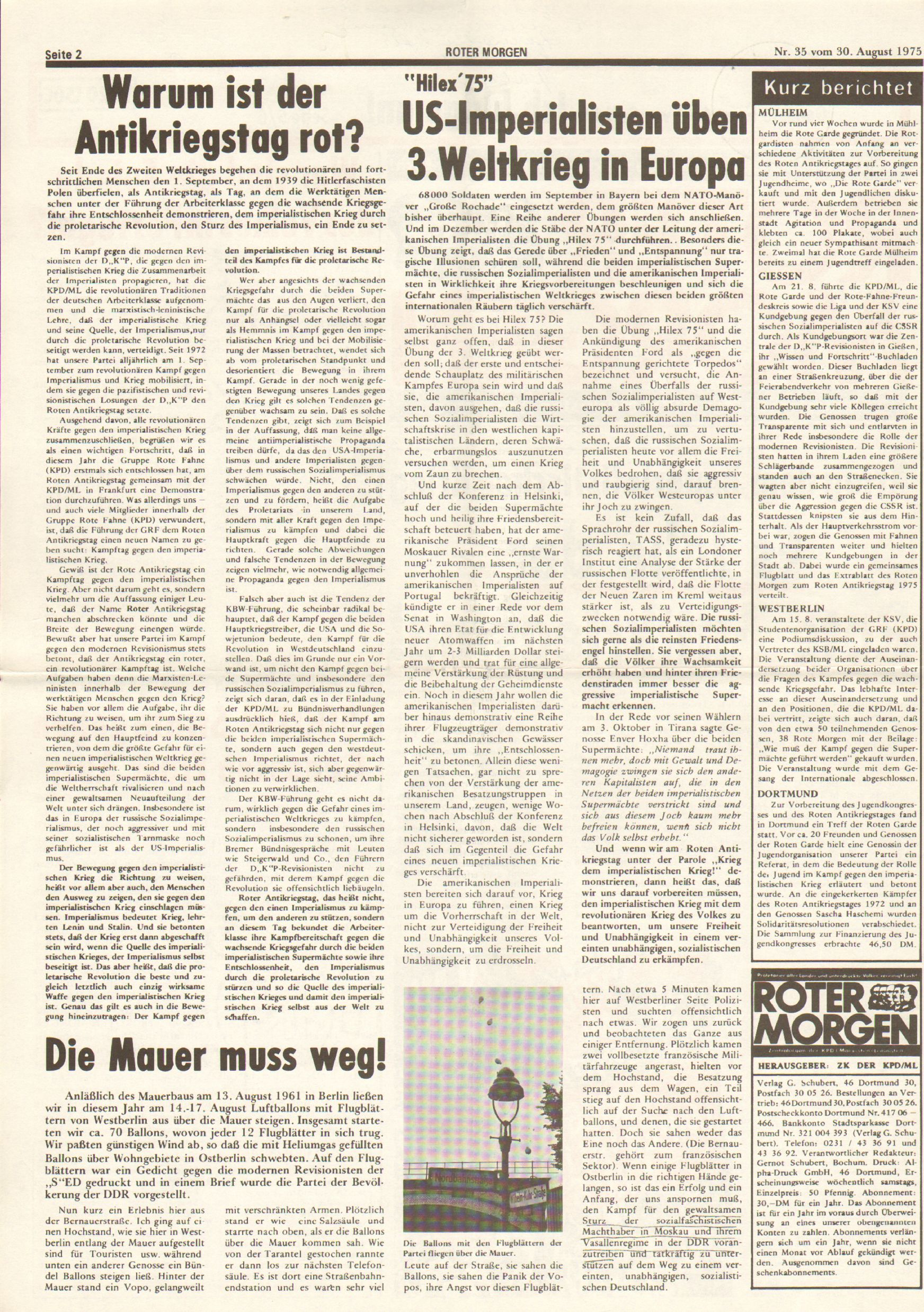 Roter Morgen, 9. Jg., 30. August 1975, Nr. 35, Seite 2