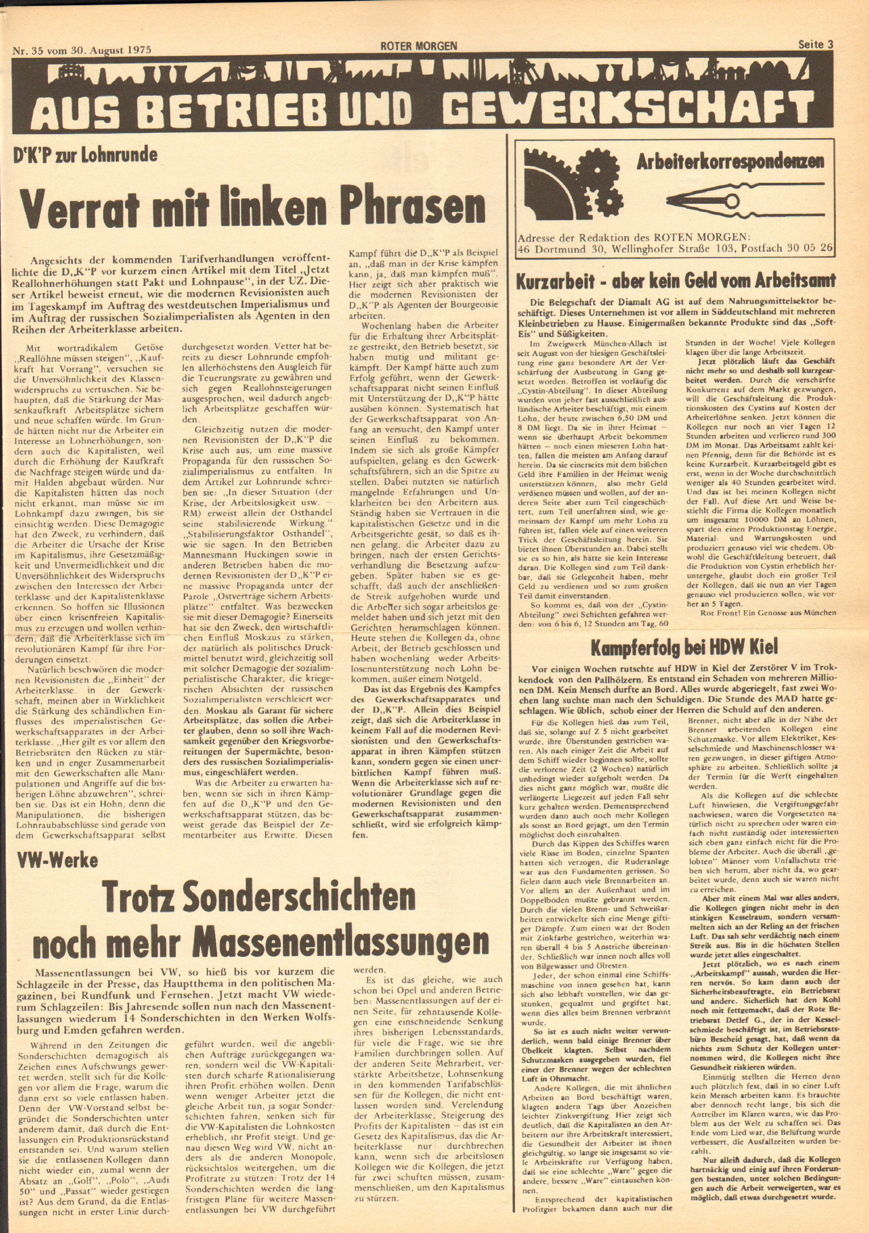 Roter Morgen, 9. Jg., 30. August 1975, Nr. 35, Seite 3