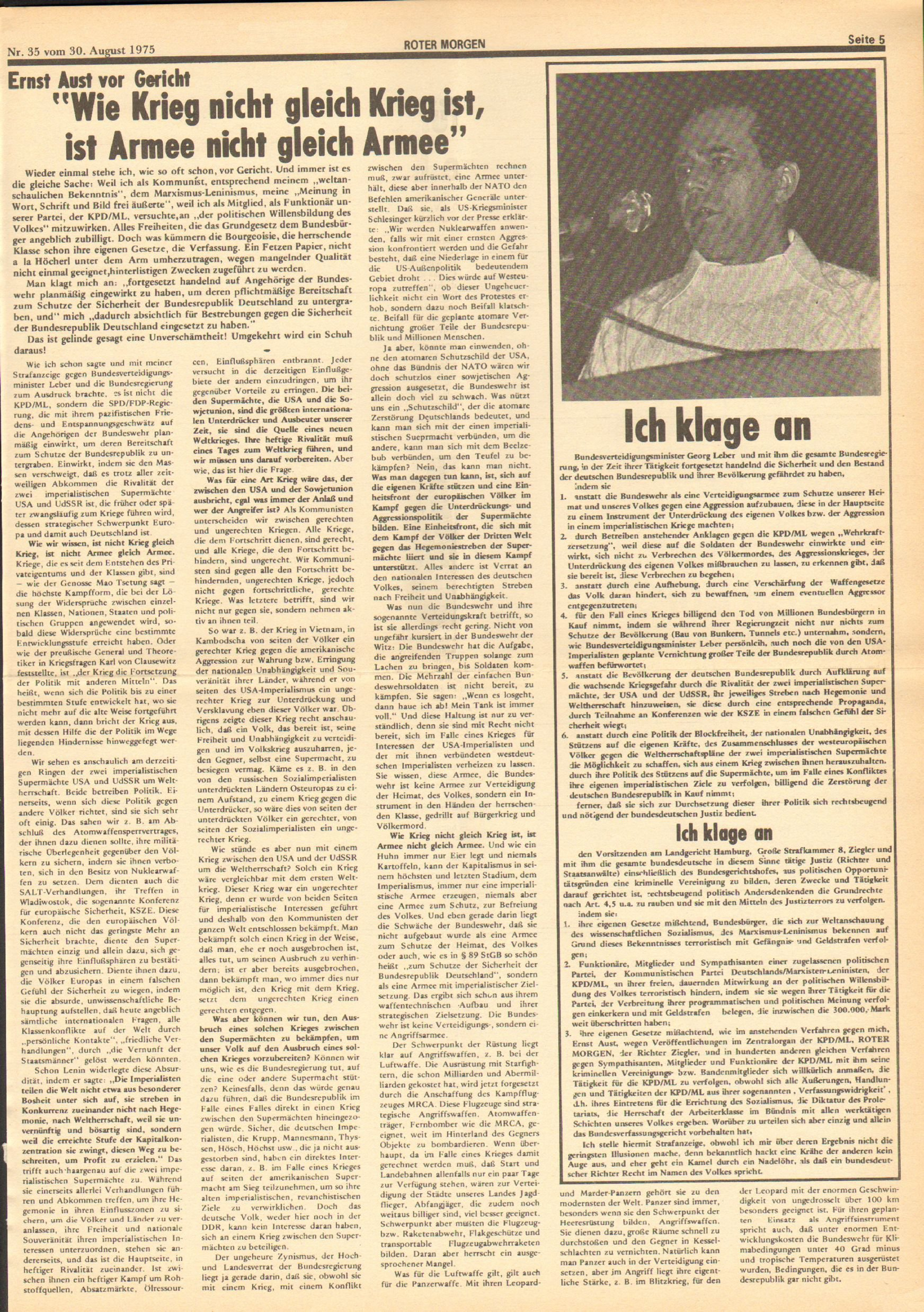 Roter Morgen, 9. Jg., 30. August 1975, Nr. 35, Seite 5