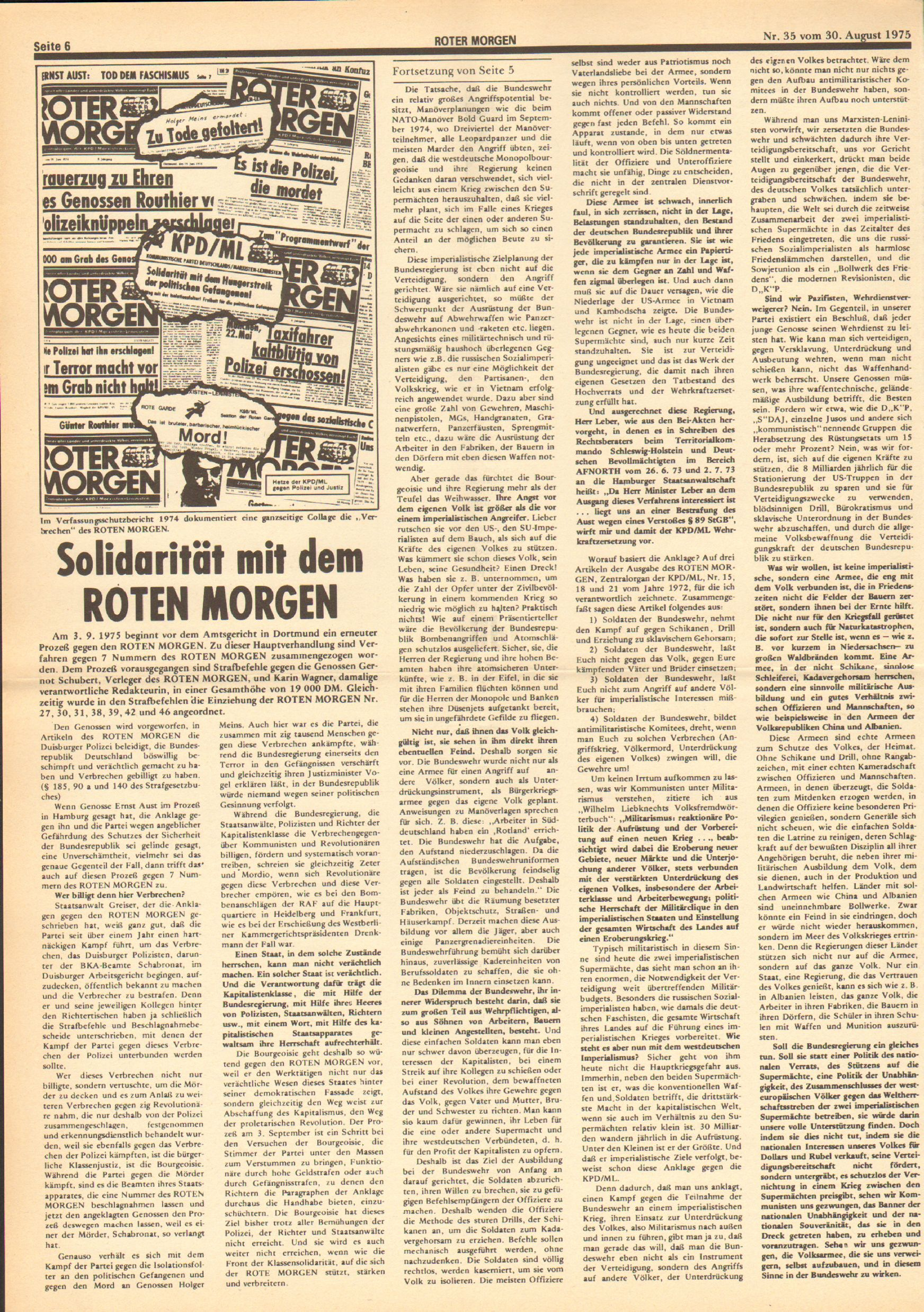 Roter Morgen, 9. Jg., 30. August 1975, Nr. 35, Seite 6
