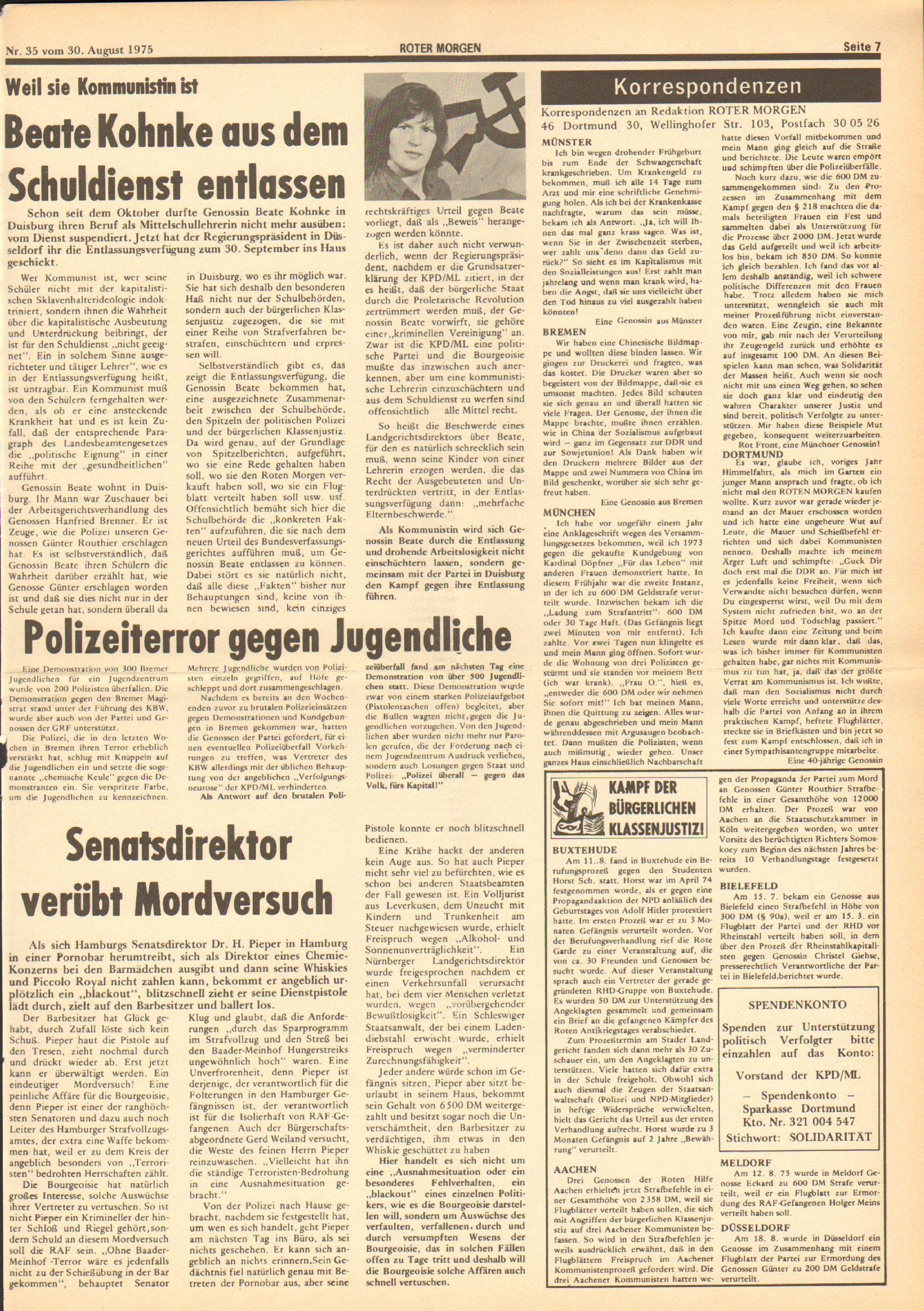 Roter Morgen, 9. Jg., 30. August 1975, Nr. 35, Seite 7