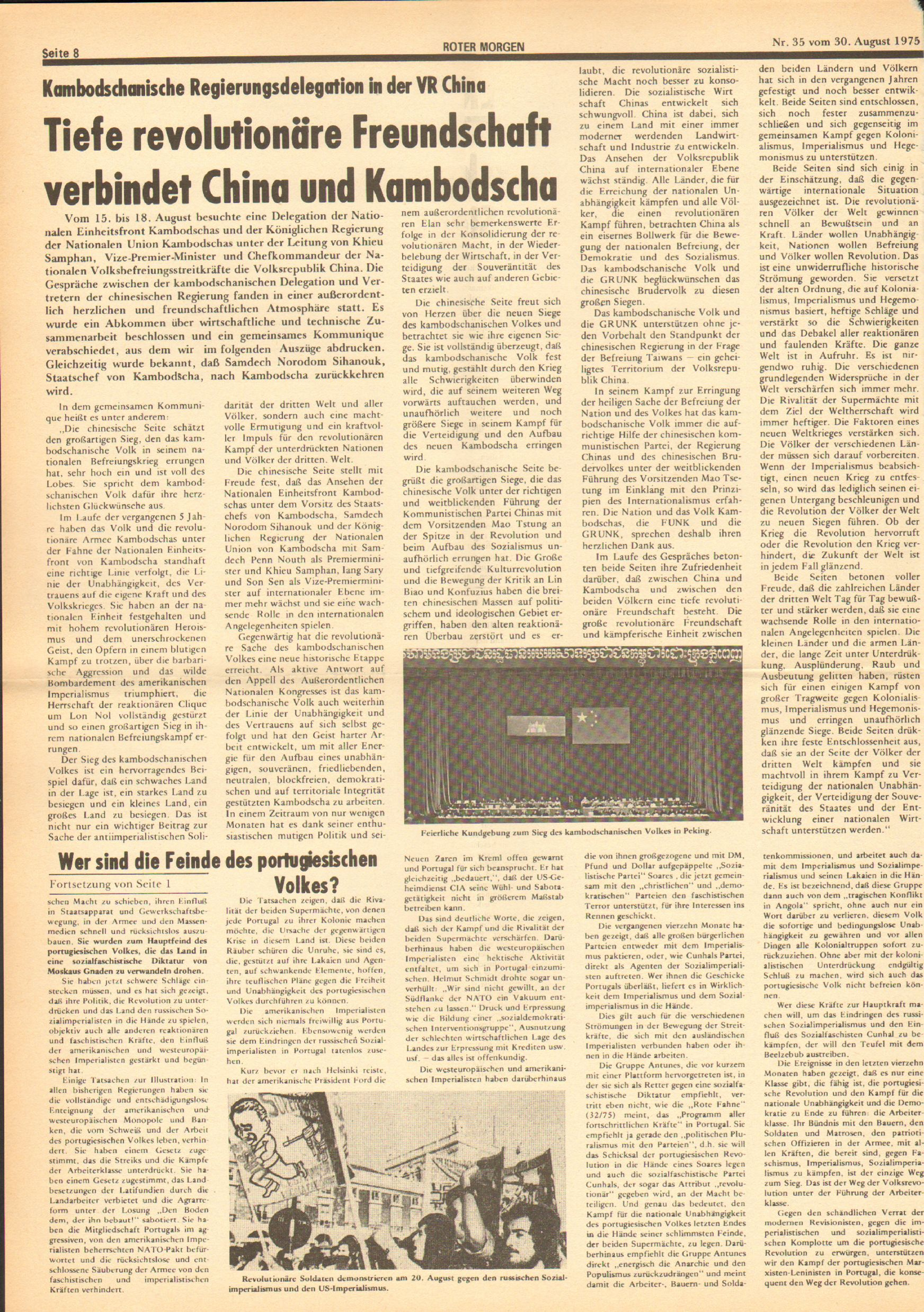 Roter Morgen, 9. Jg., 30. August 1975, Nr. 35, Seite 8