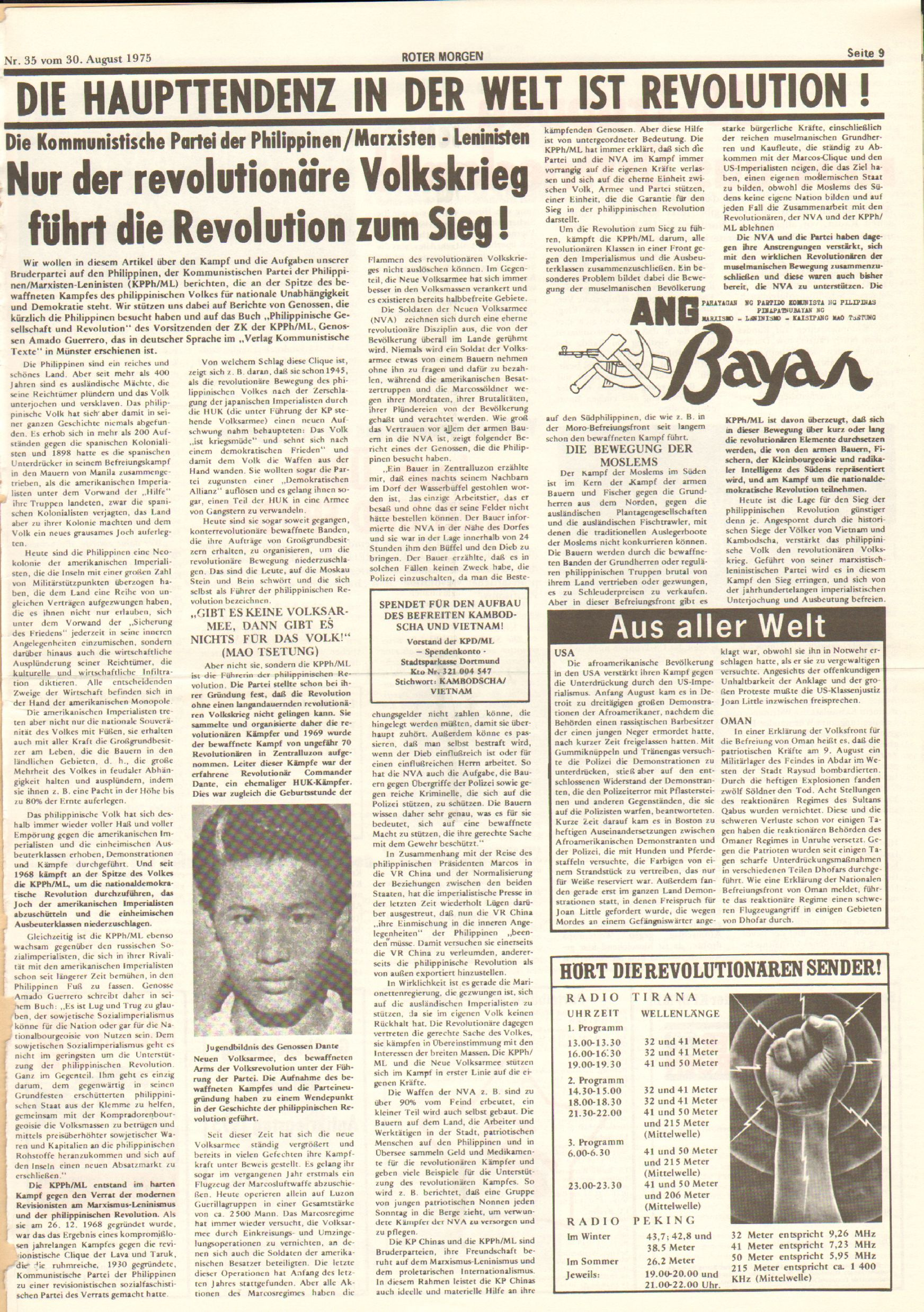 Roter Morgen, 9. Jg., 30. August 1975, Nr. 35, Seite 9