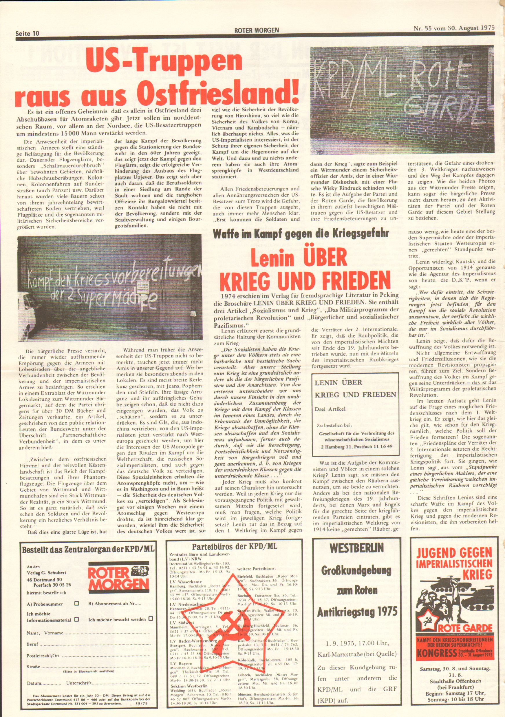 Roter Morgen, 9. Jg., 30. August 1975, Nr. 35, Seite 10