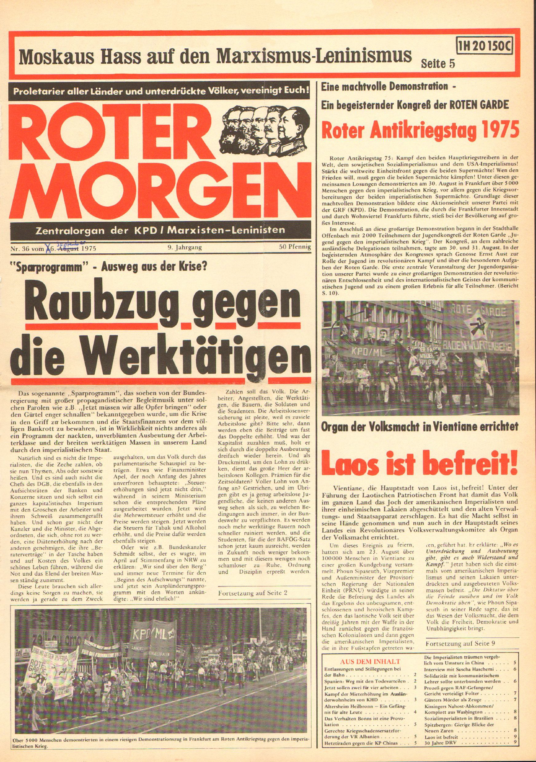 Roter Morgen, 9. Jg., 6. September 1975, Nr. 36, Seite 1