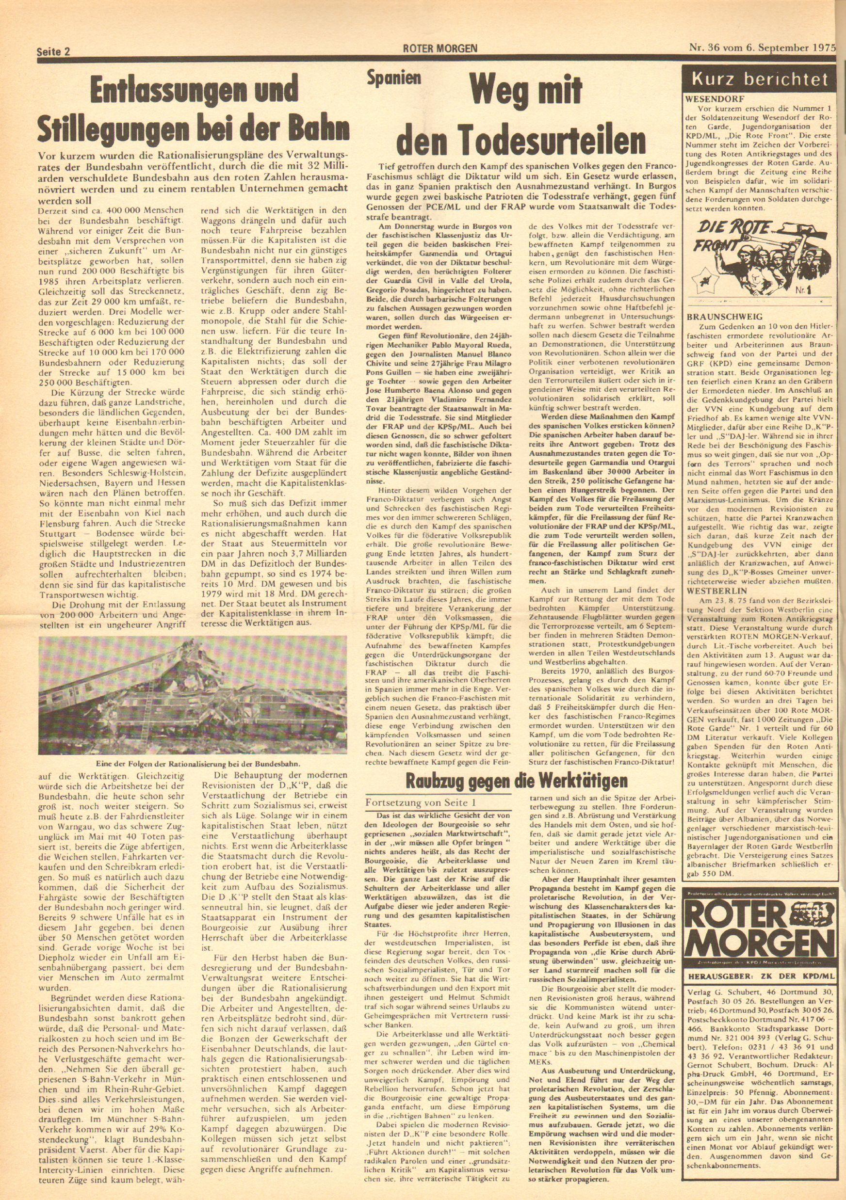 Roter Morgen, 9. Jg., 6. September 1975, Nr. 36, Seite 2