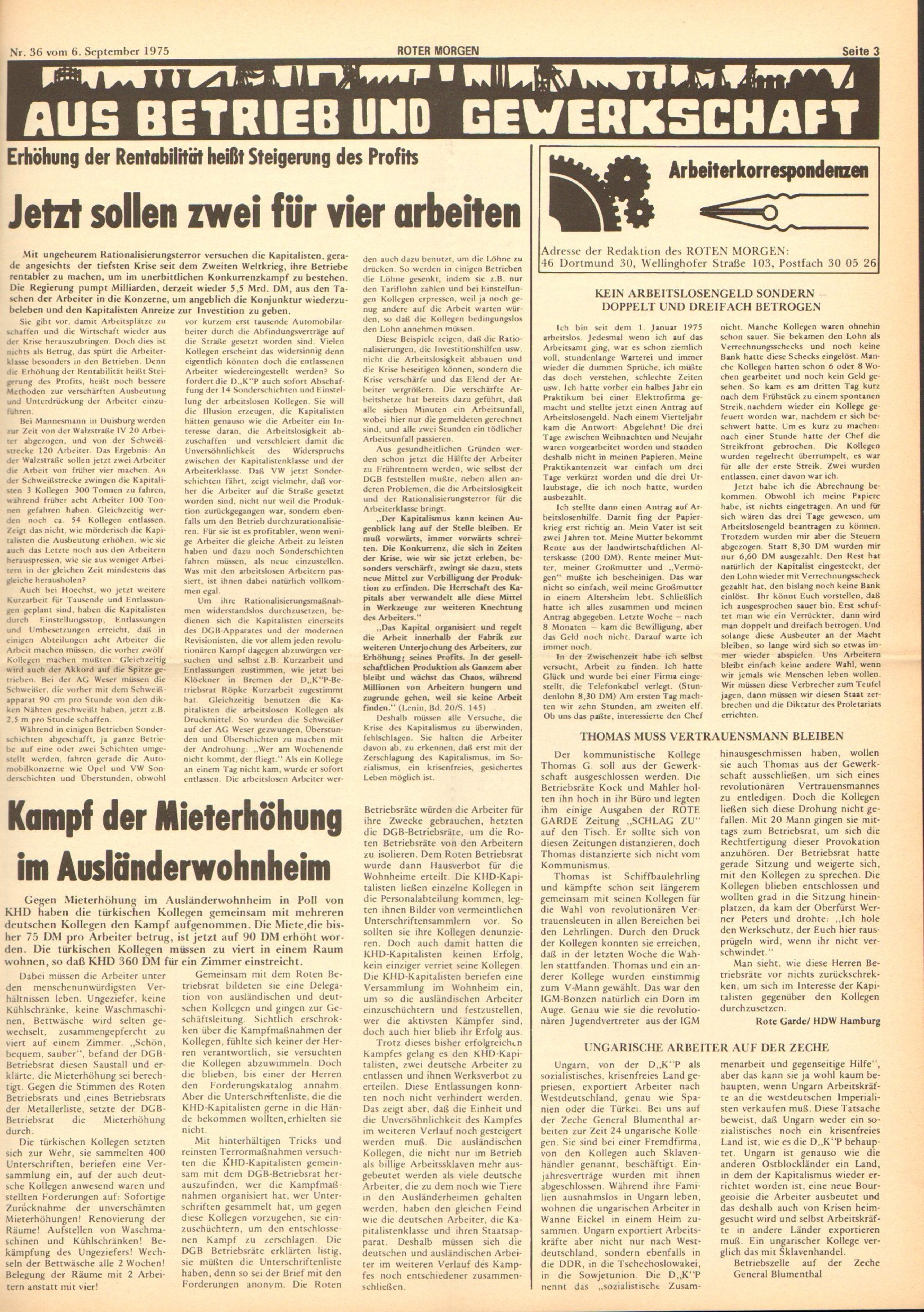 Roter Morgen, 9. Jg., 6. September 1975, Nr. 36, Seite 3