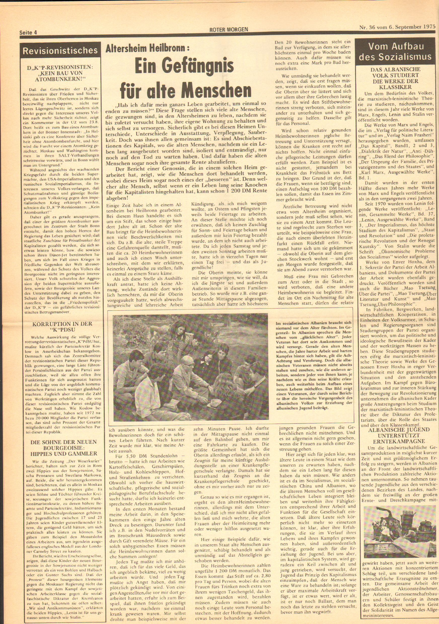 Roter Morgen, 9. Jg., 6. September 1975, Nr. 36, Seite 4