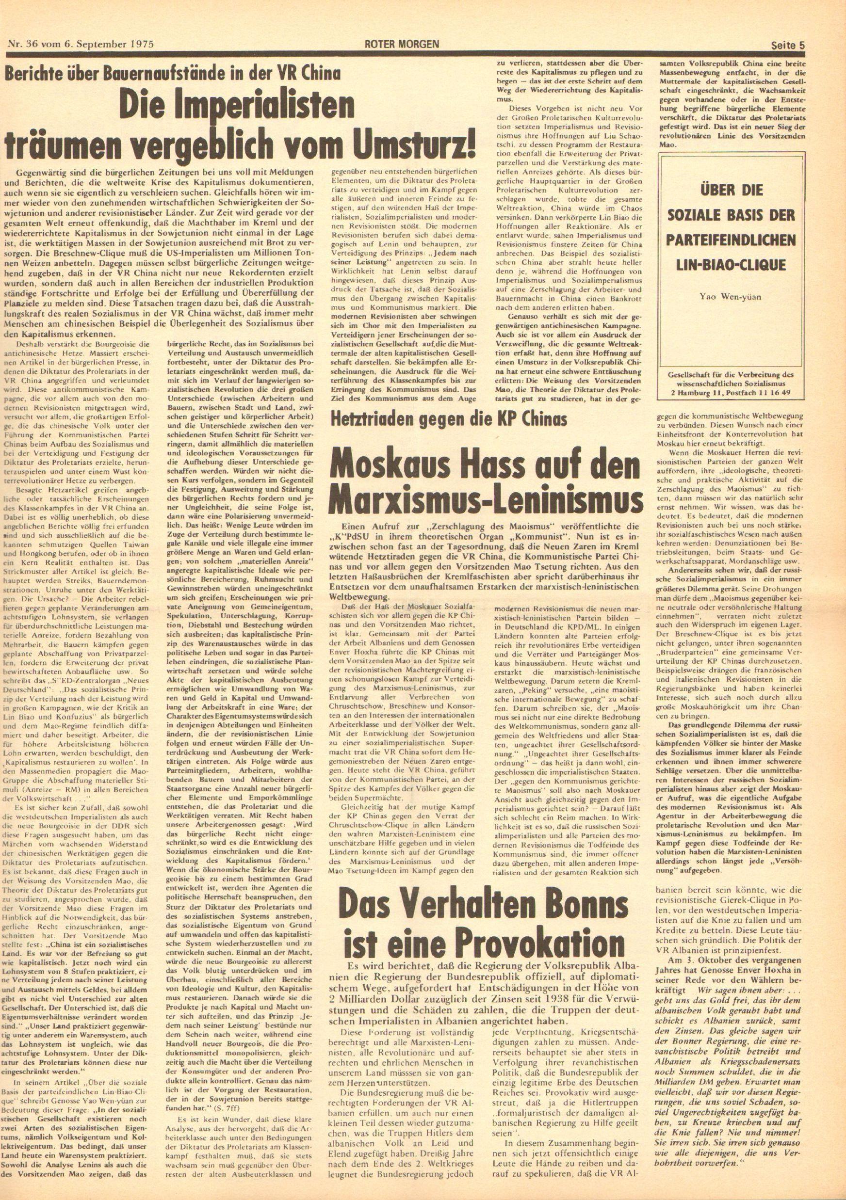 Roter Morgen, 9. Jg., 6. September 1975, Nr. 36, Seite 5