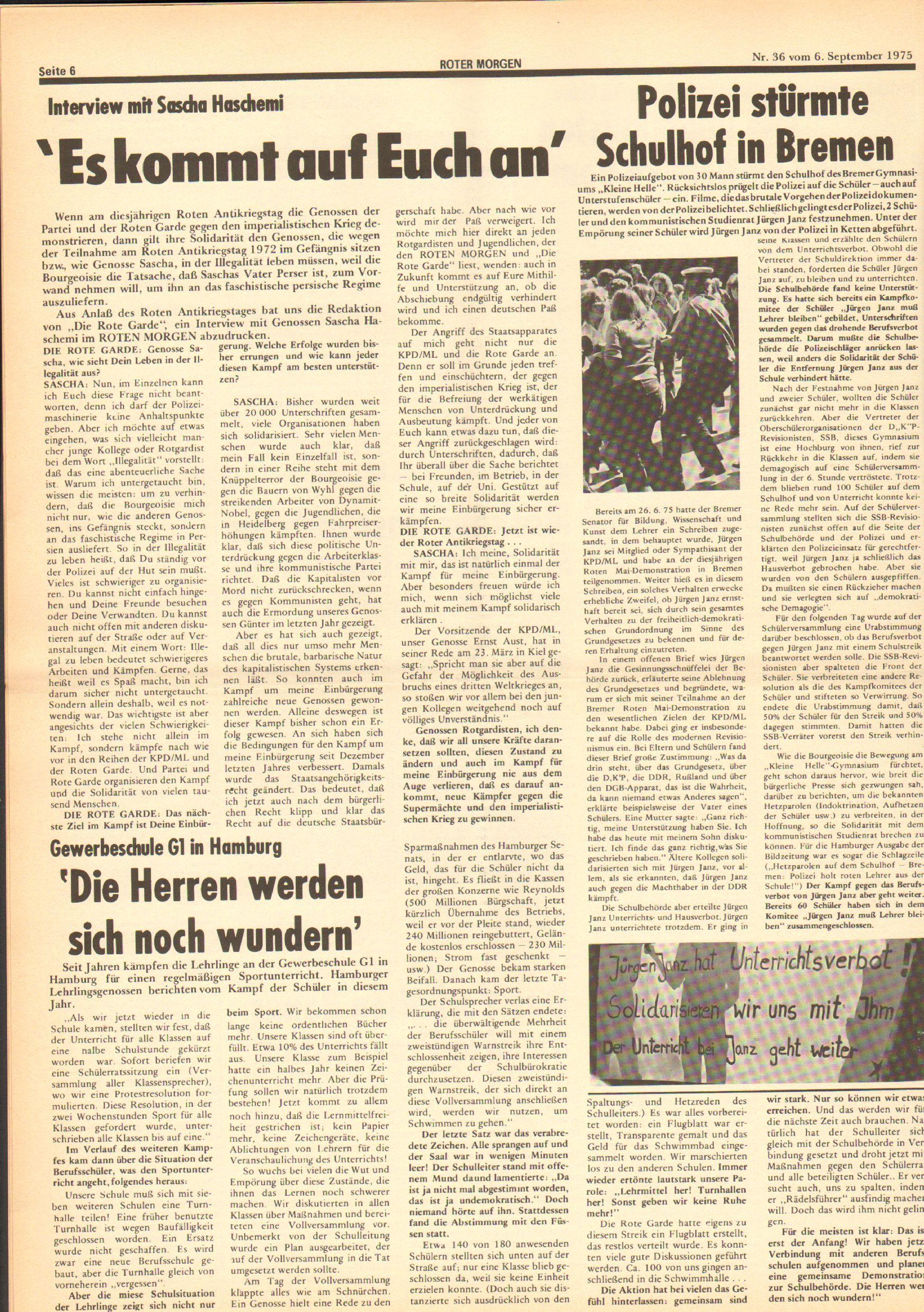 Roter Morgen, 9. Jg., 6. September 1975, Nr. 36, Seite 6