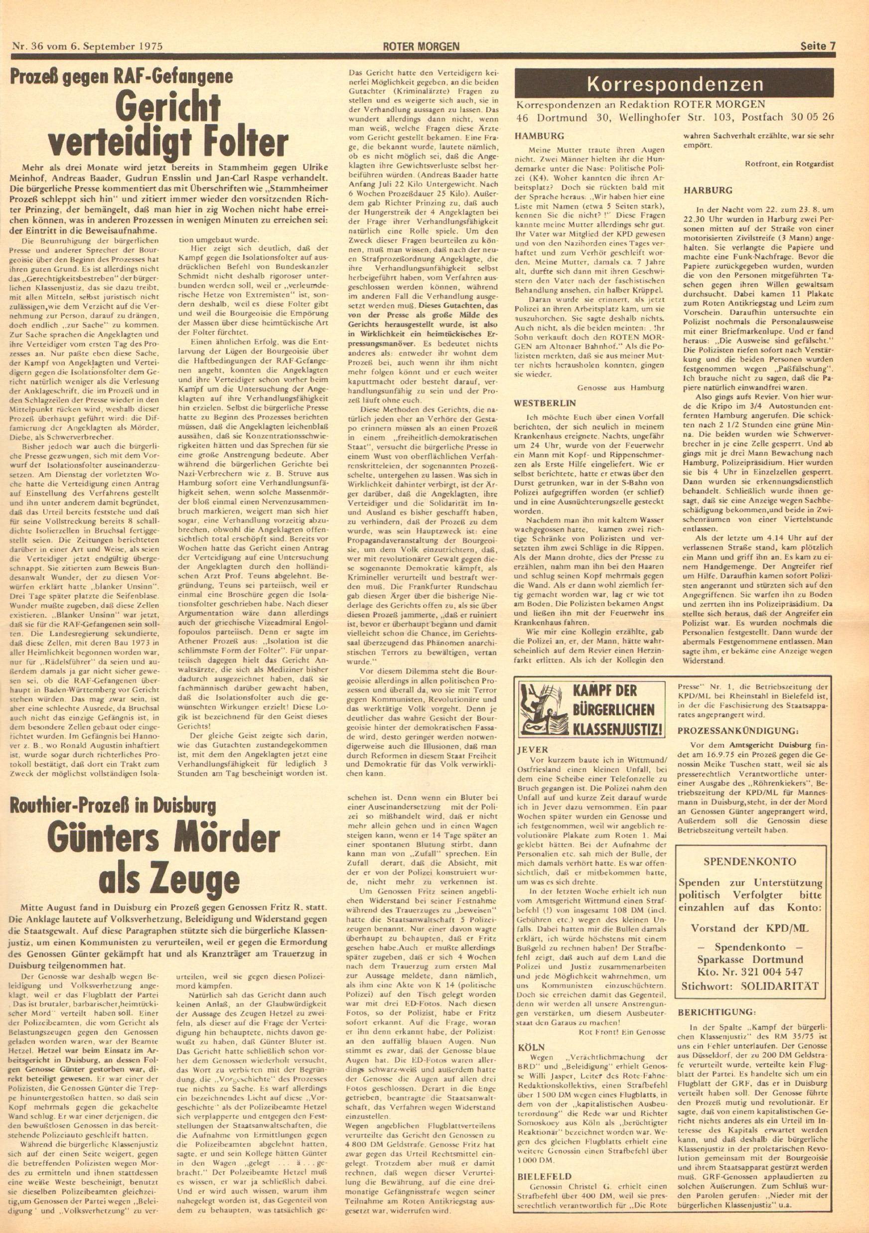 Roter Morgen, 9. Jg., 6. September 1975, Nr. 36, Seite 7