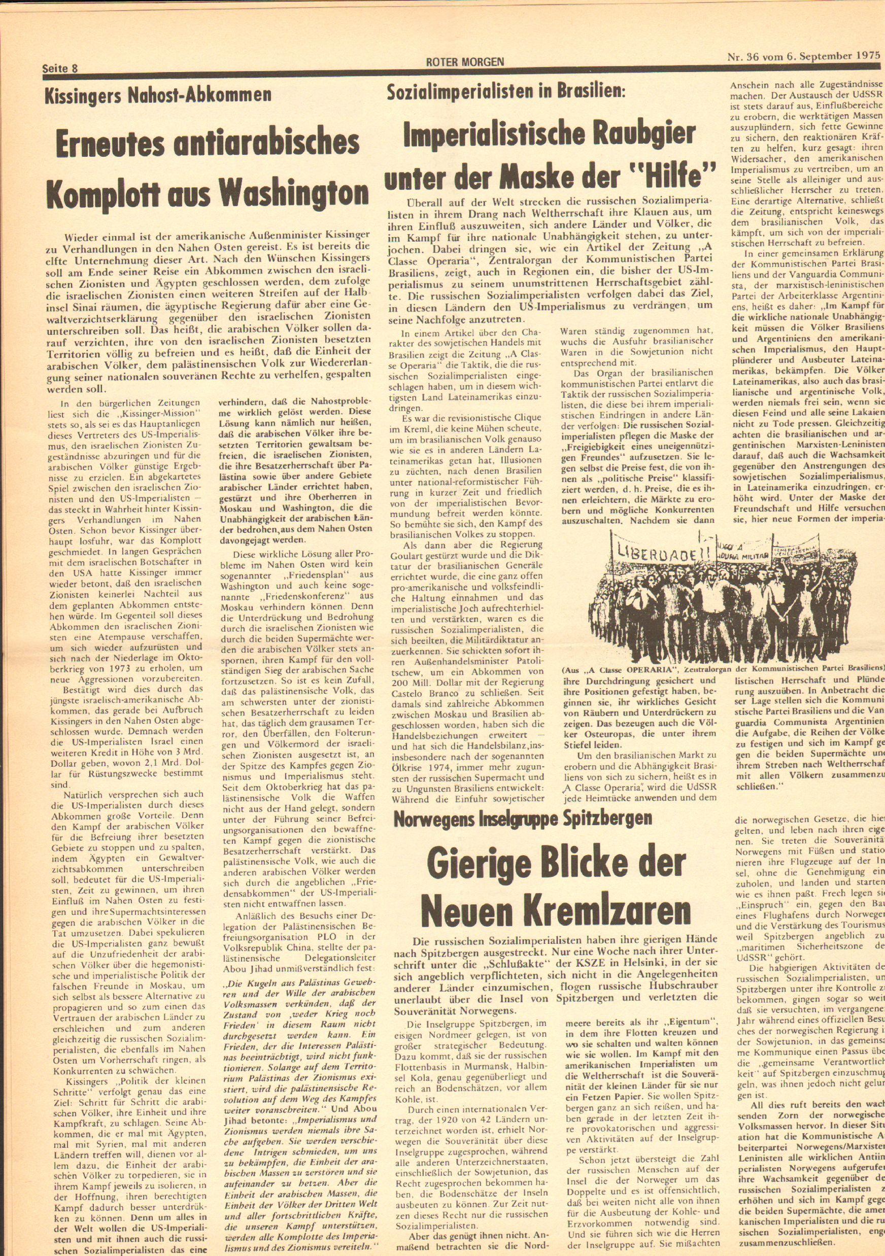 Roter Morgen, 9. Jg., 6. September 1975, Nr. 36, Seite 8