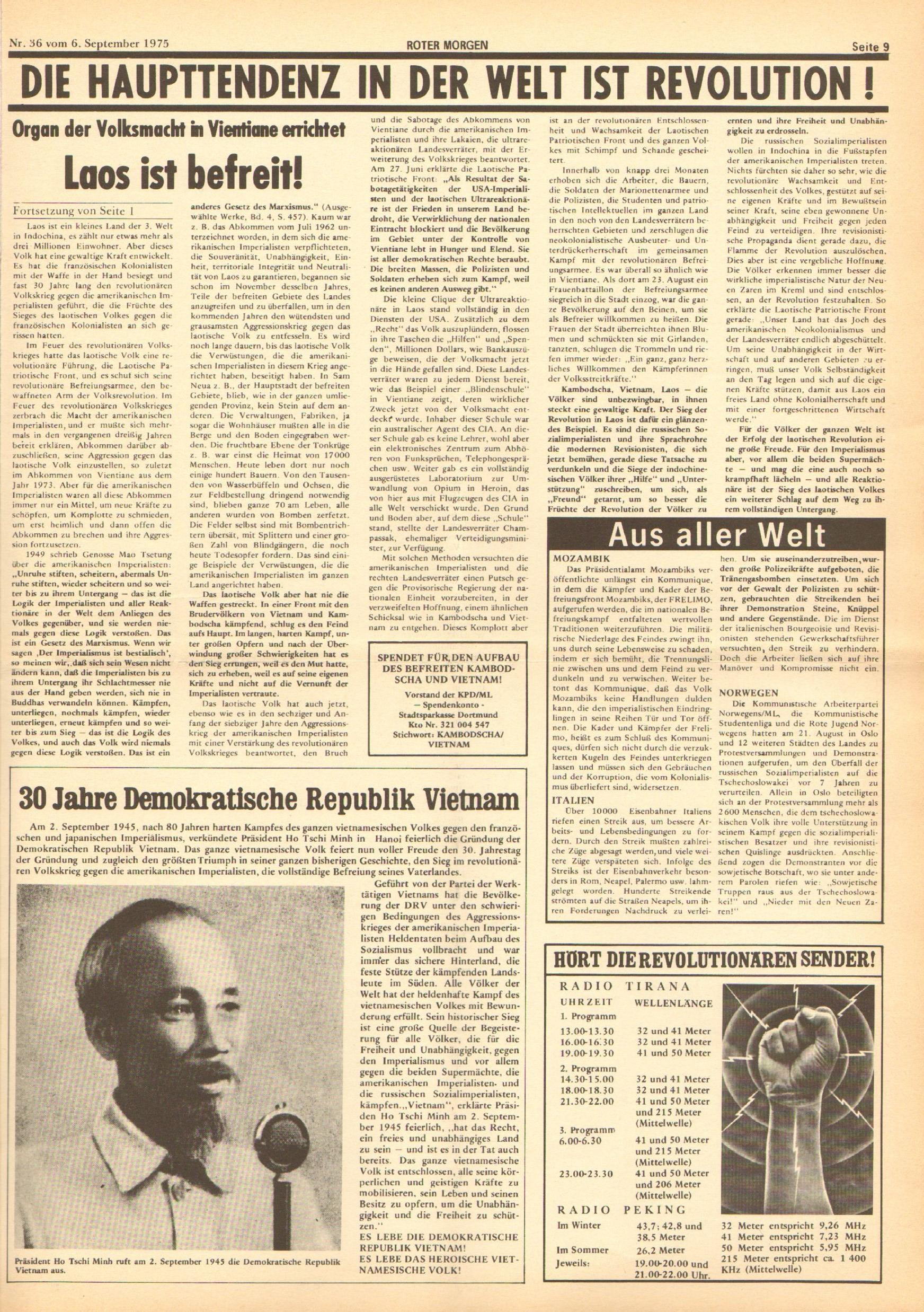 Roter Morgen, 9. Jg., 6. September 1975, Nr. 36, Seite 9