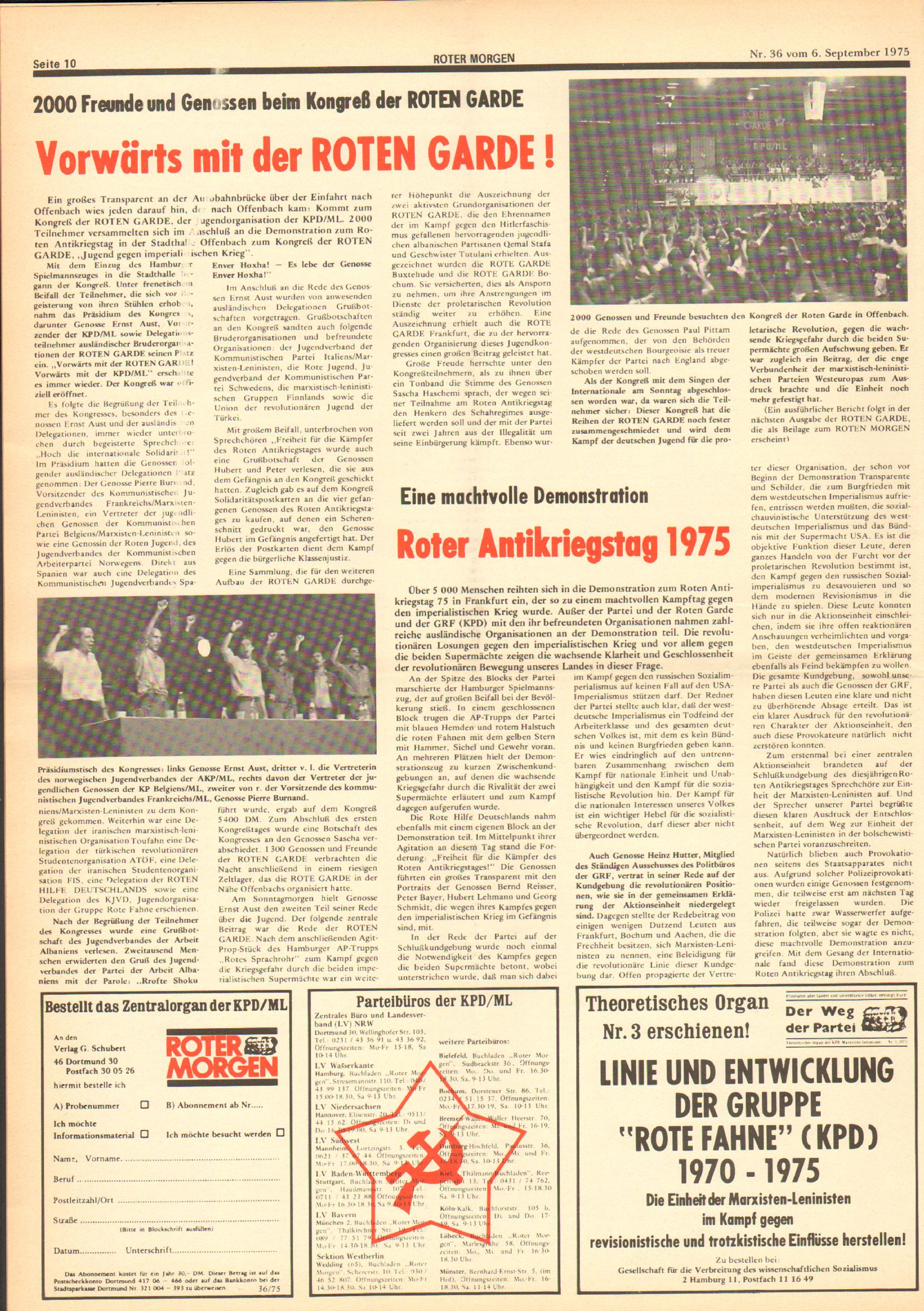 Roter Morgen, 9. Jg., 6. September 1975, Nr. 36, Seite 10