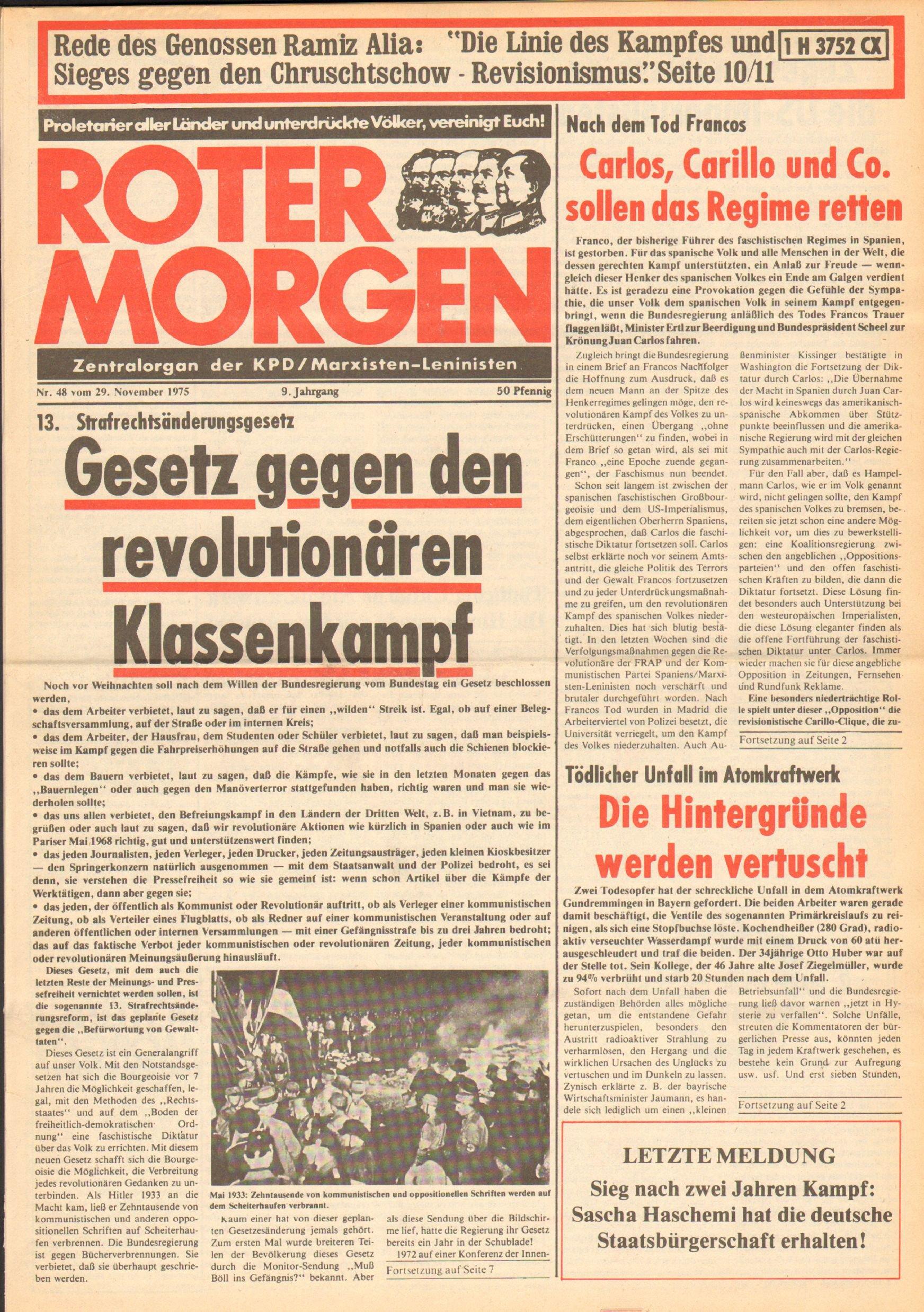 Roter Morgen, 9. Jg., 29. November 1975, Nr. 48, Seite 1