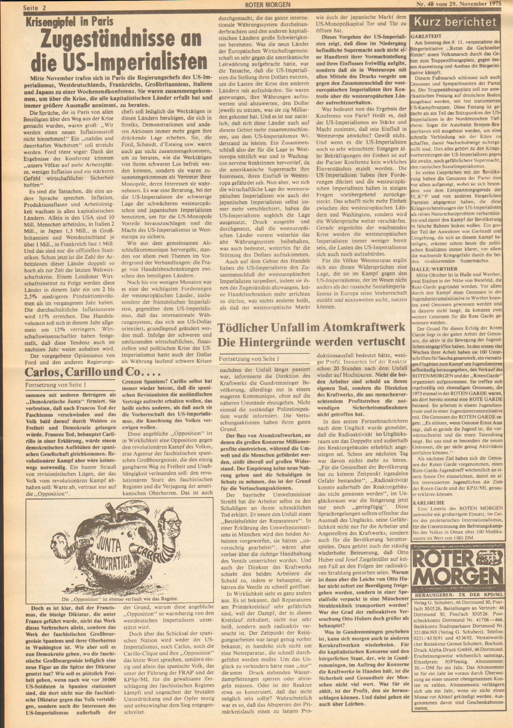 Roter Morgen, 9. Jg., 29. November 1975, Nr. 48, Seite 2