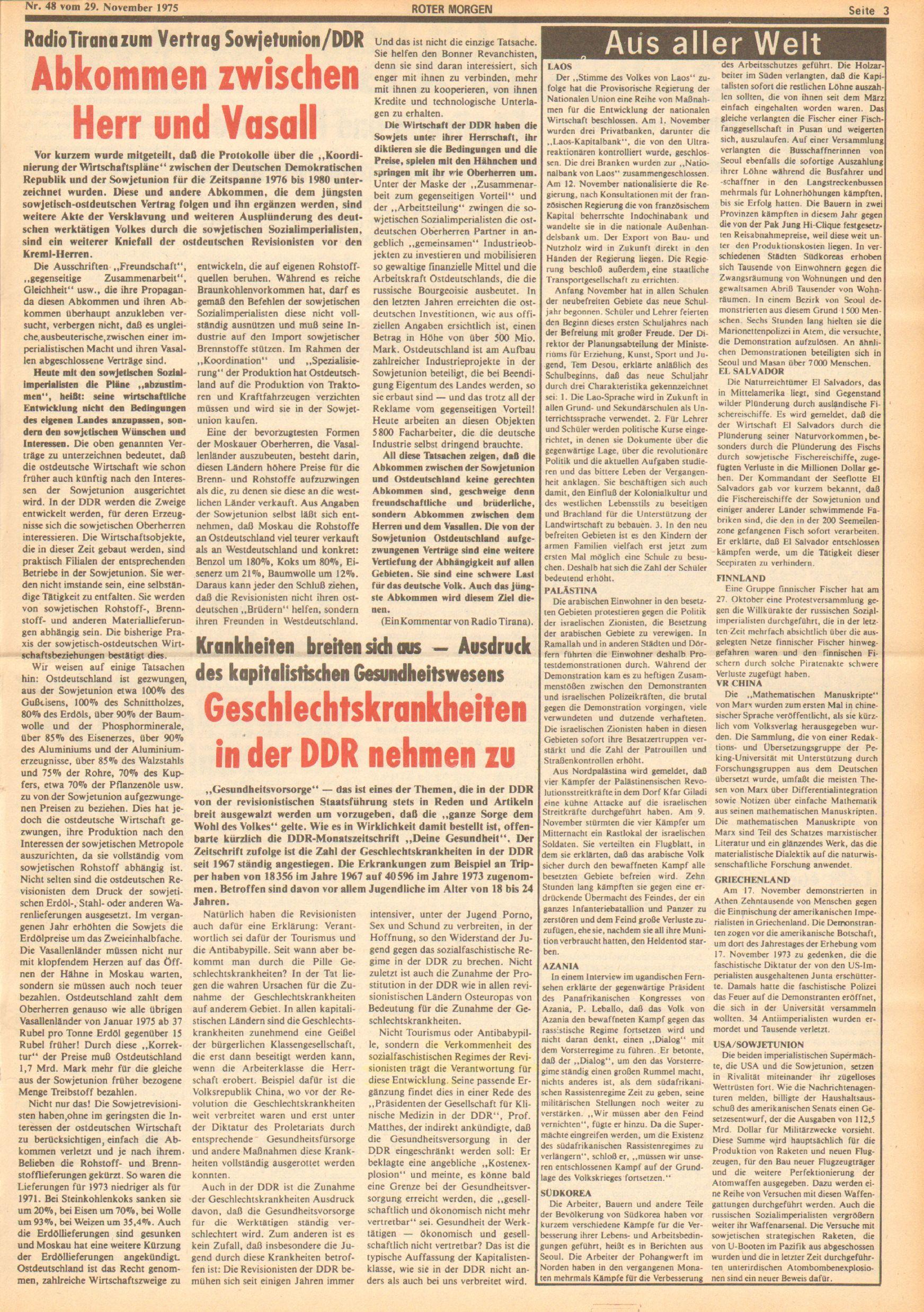 Roter Morgen, 9. Jg., 29. November 1975, Nr. 48, Seite 3