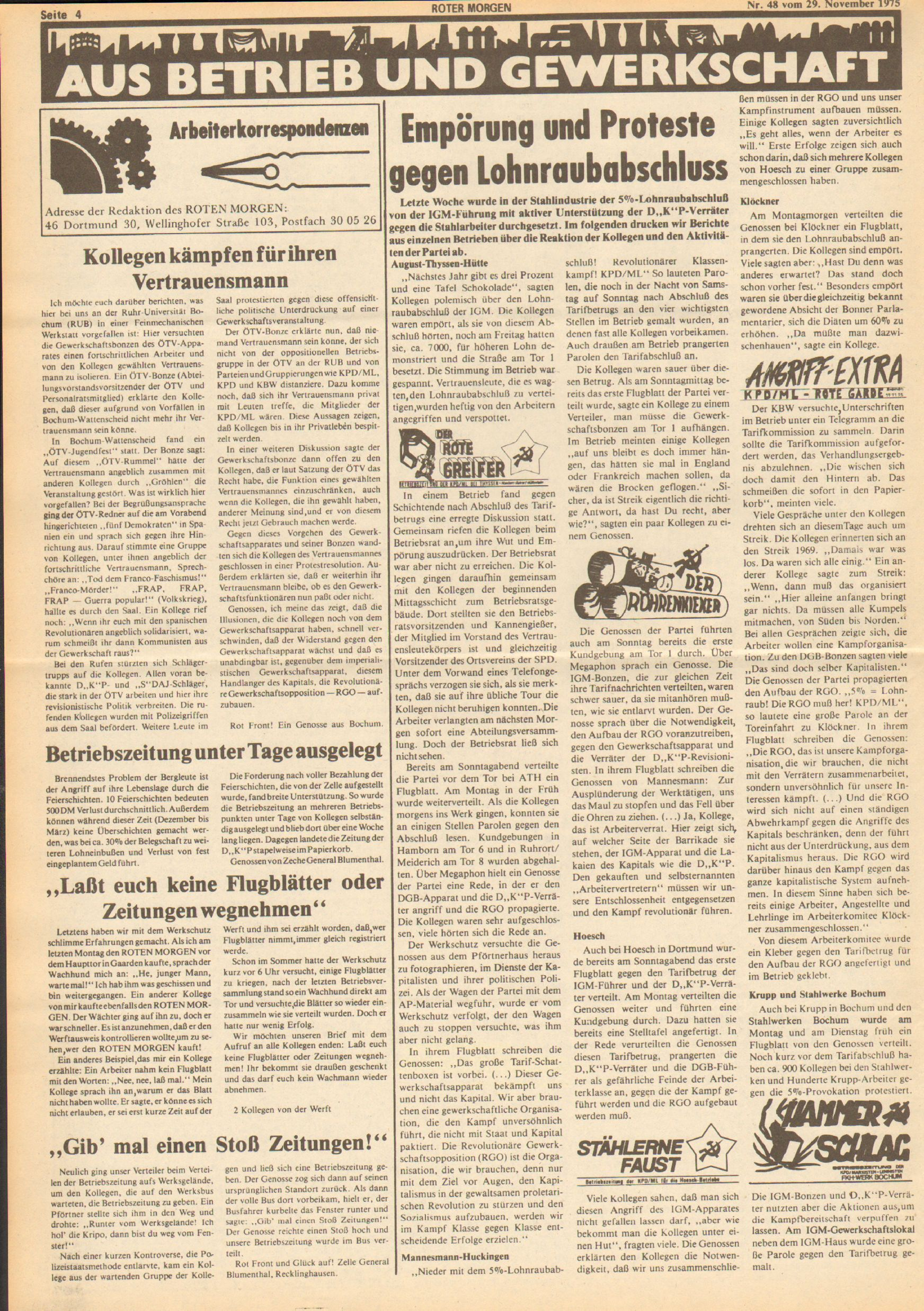 Roter Morgen, 9. Jg., 29. November 1975, Nr. 48, Seite 4