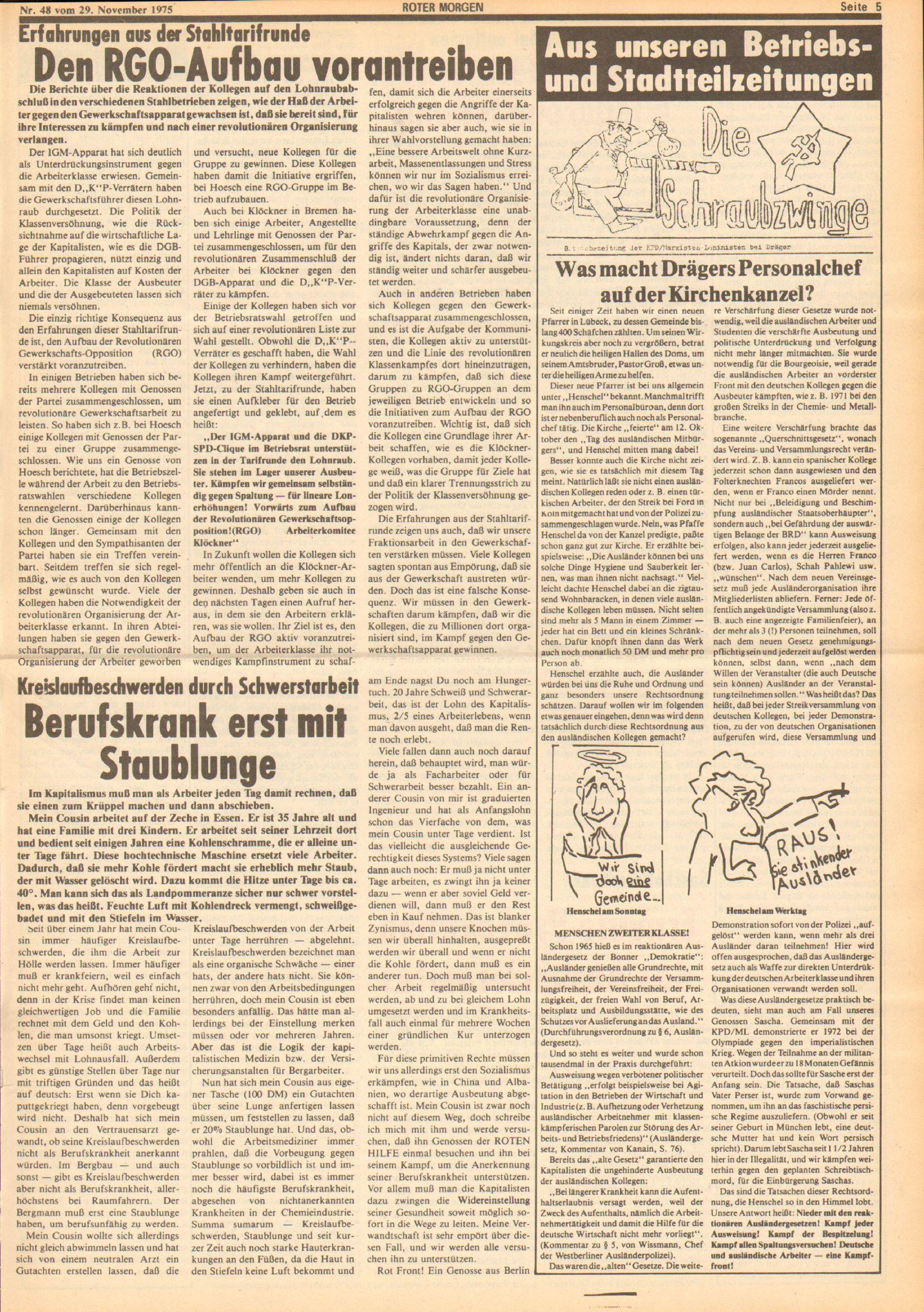 Roter Morgen, 9. Jg., 29. November 1975, Nr. 48, Seite 5