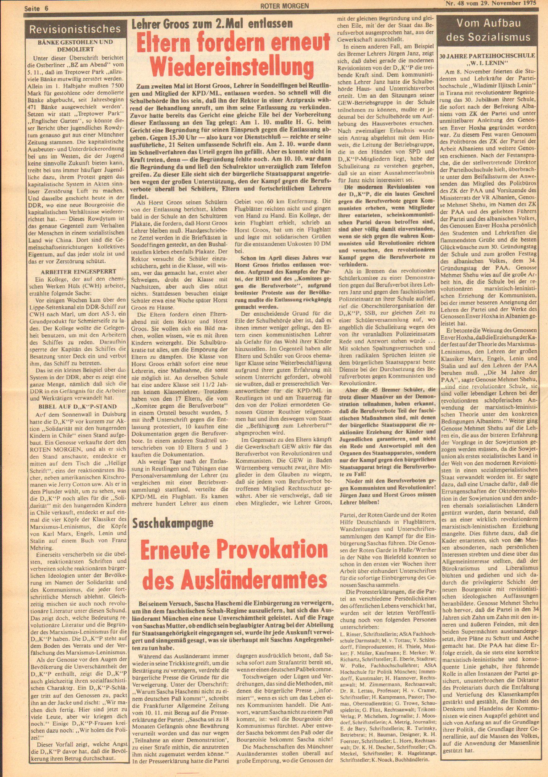 Roter Morgen, 9. Jg., 29. November 1975, Nr. 48, Seite 6